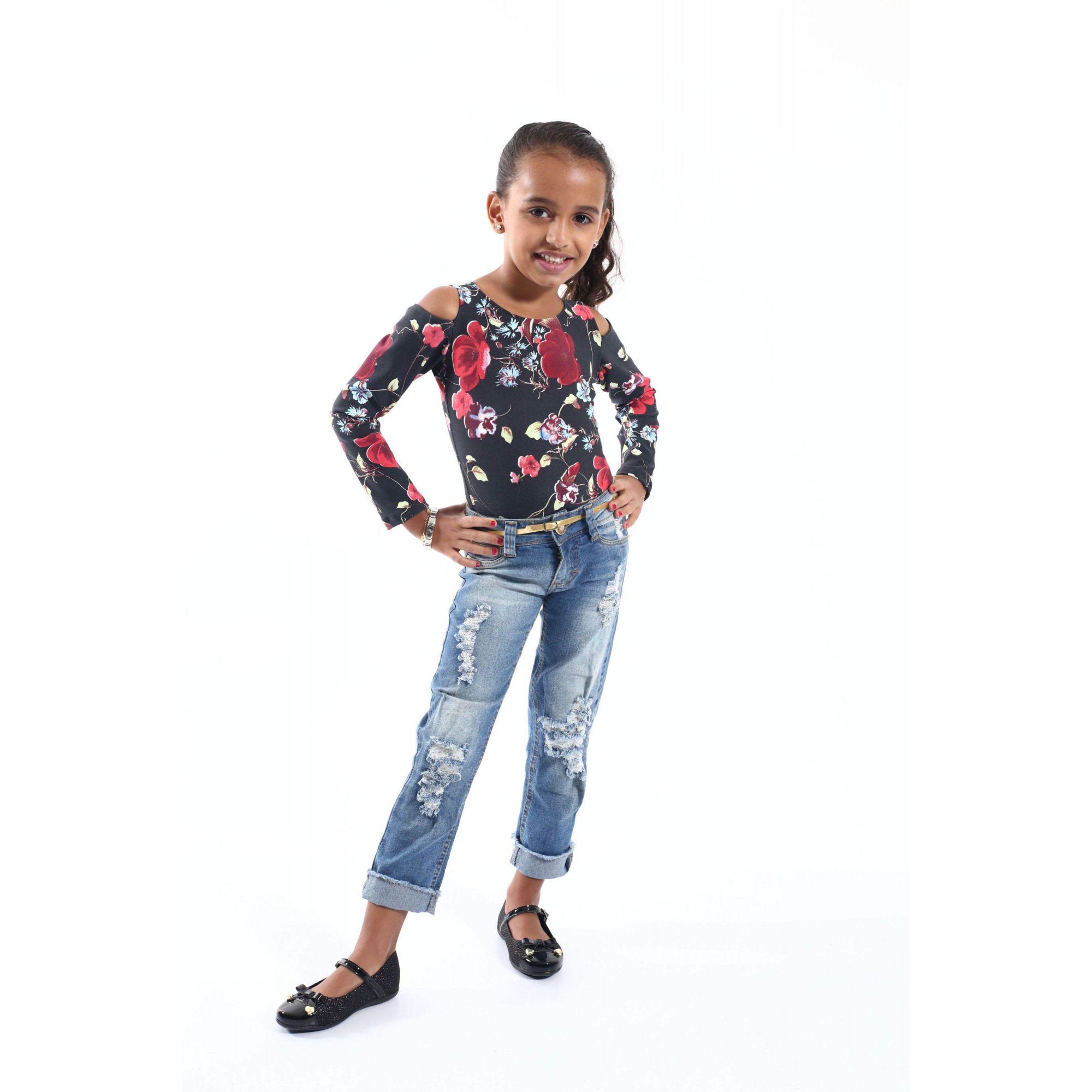 Body Feminino Infantil Rosas Manga Longa  - Heitor Fashion Brazil