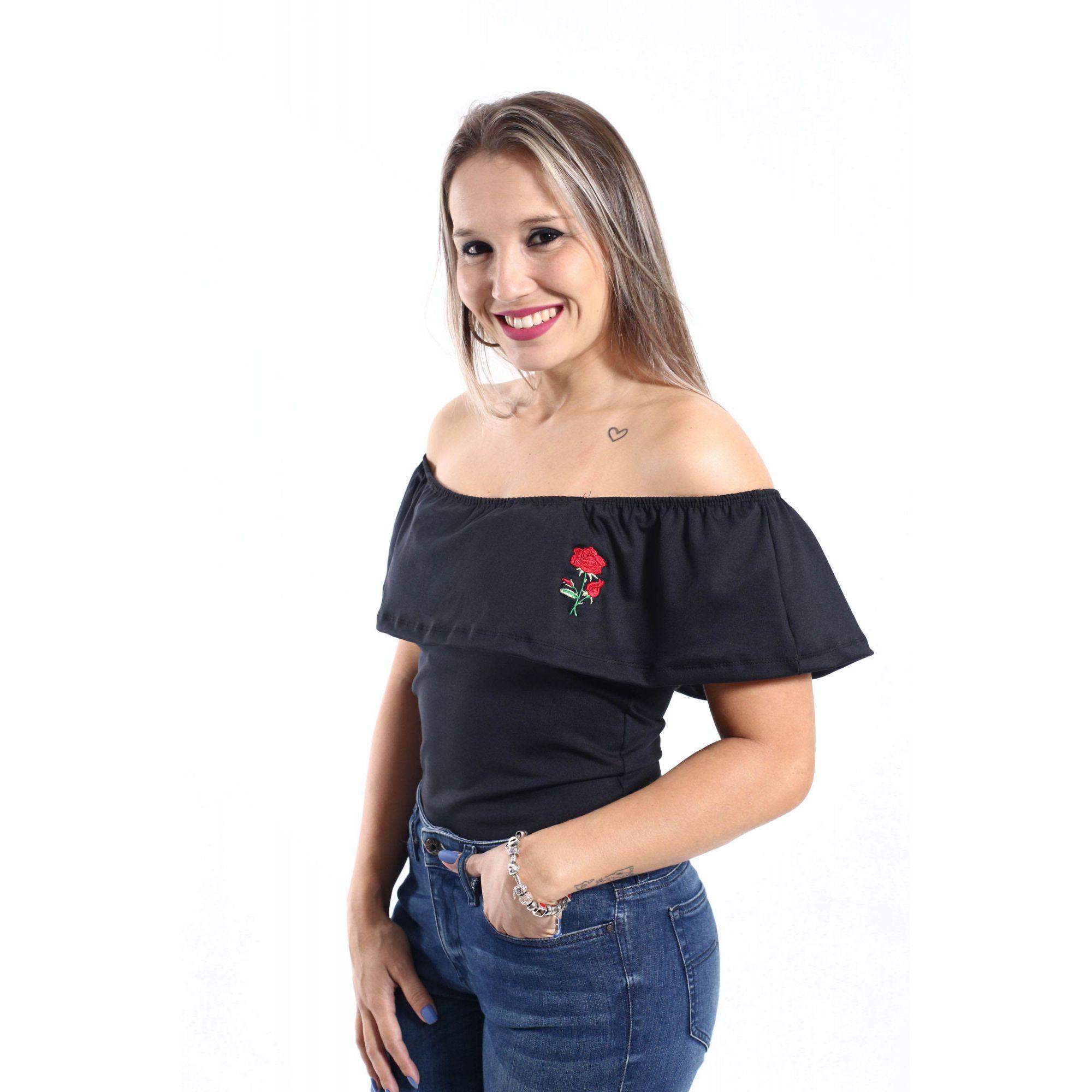 Body Feminino Preto Adulto Ciganinha Rosas  - Heitor Fashion Brazil