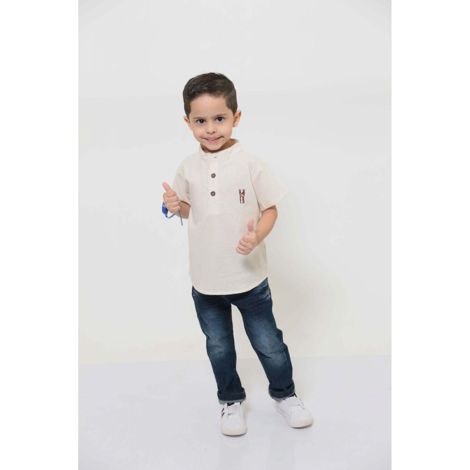 Camisa Bata Gola Padre Infantil Unissex  - Heitor Fashion Brazil
