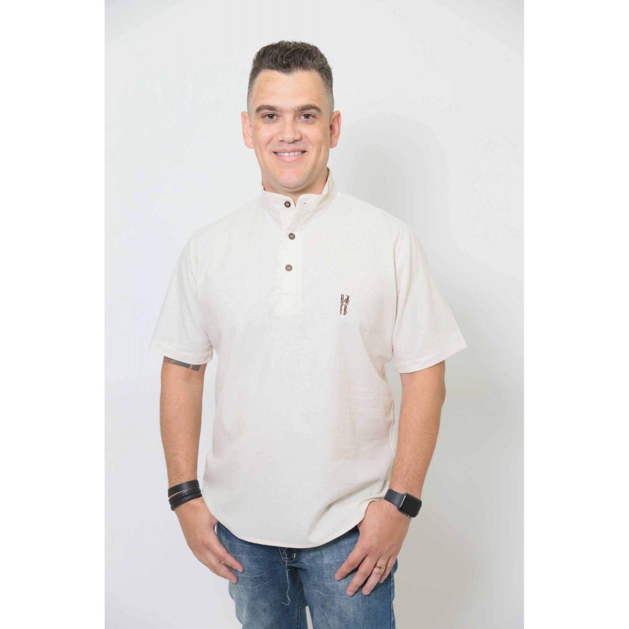 Camisa Bata Gola Padre Masculina