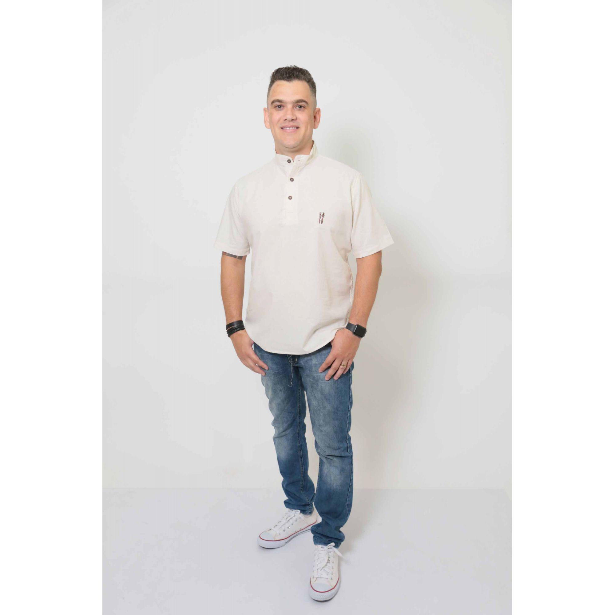 Camisa Bata Gola Padre Masculina  - Heitor Fashion Brazil
