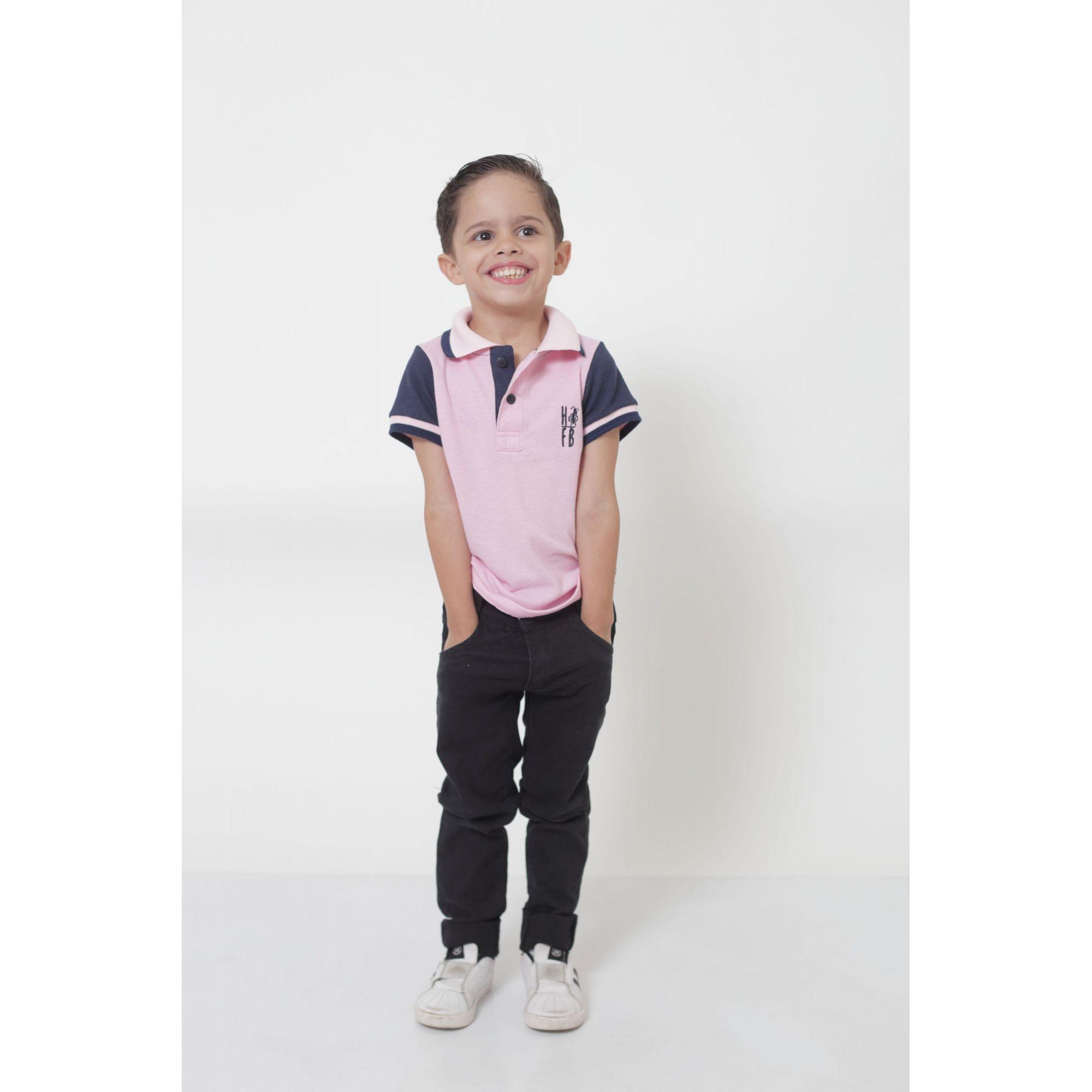 Camisa ou Body Polo Infantil Dual Cor Rosa e Marinho