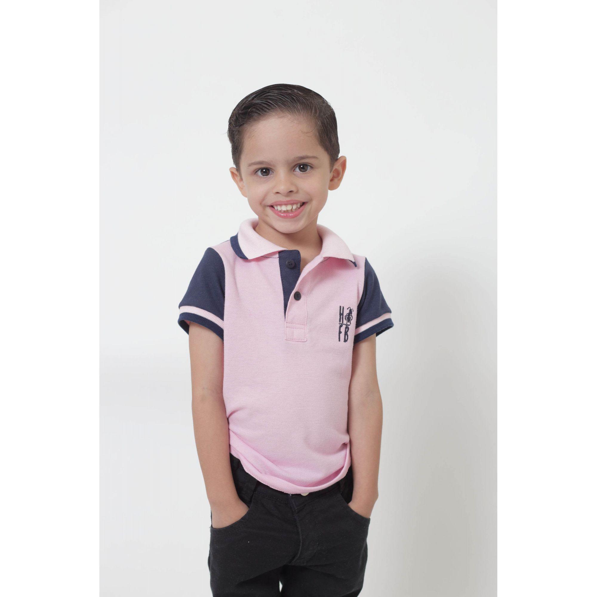 Camisa ou Body Polo Infantil Dual Cor Rosa e Marinho  - Heitor Fashion Brazil