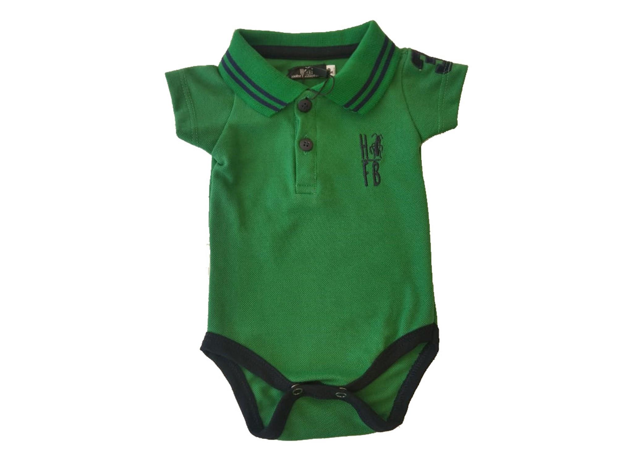 Camisa ou Body Polo Infantil Verde Esperança  - Heitor Fashion Brazil
