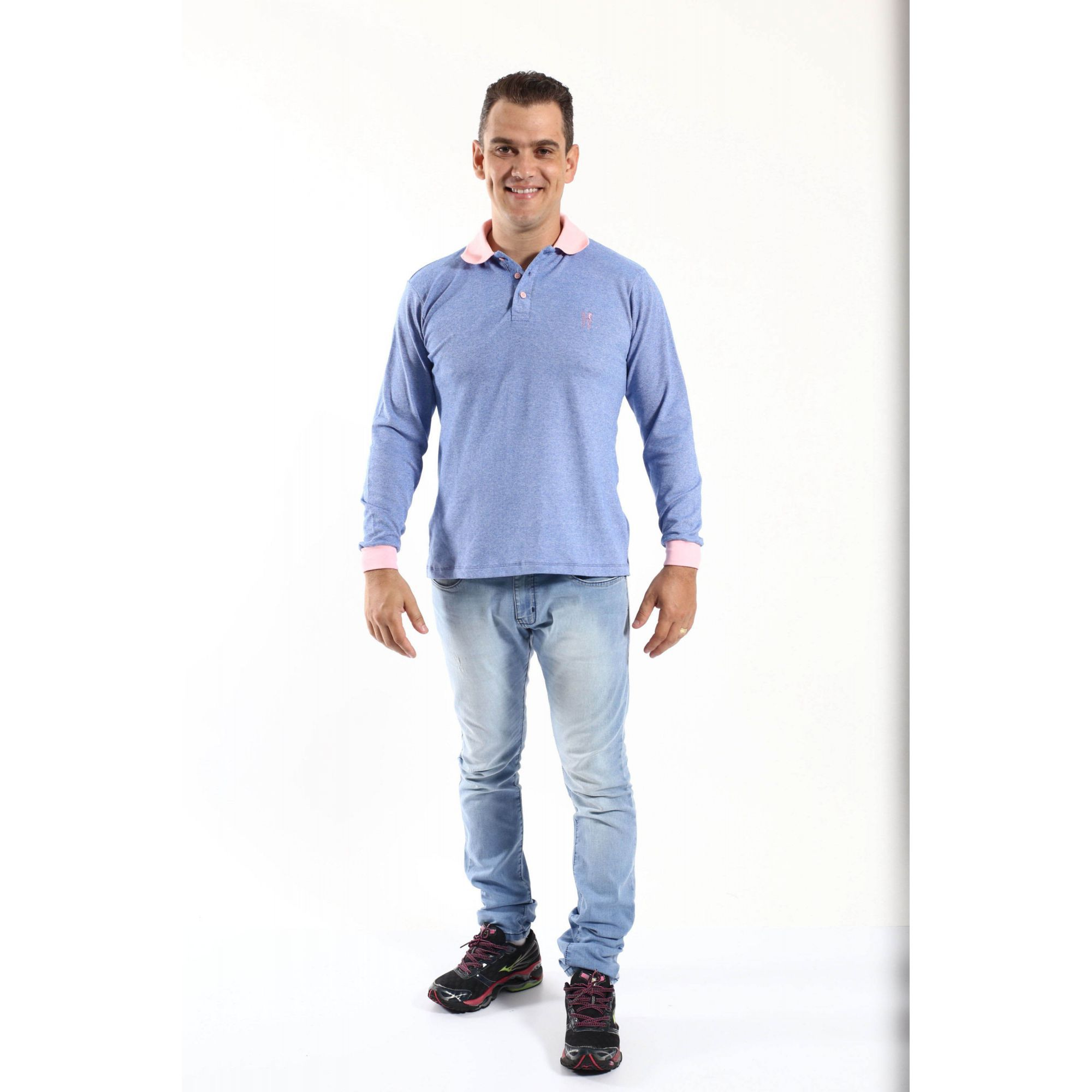 Camisa Polo Azul Manga Longa  - Heitor Fashion Brazil