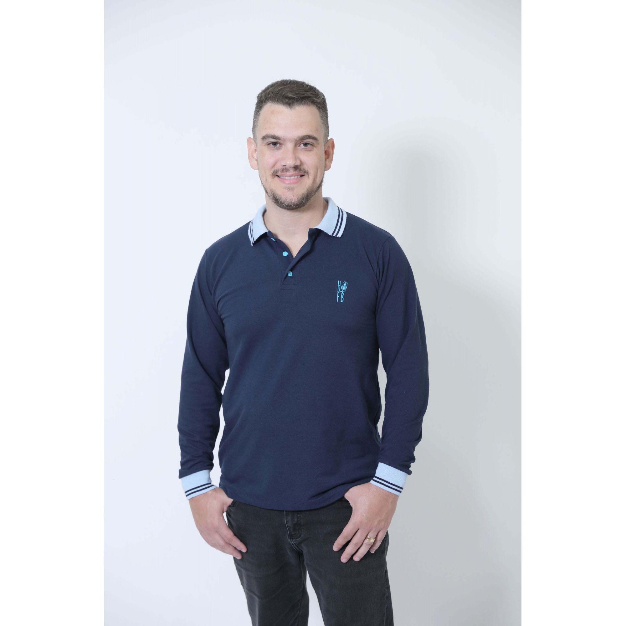 Camisa Polo Azul  Manga Longa