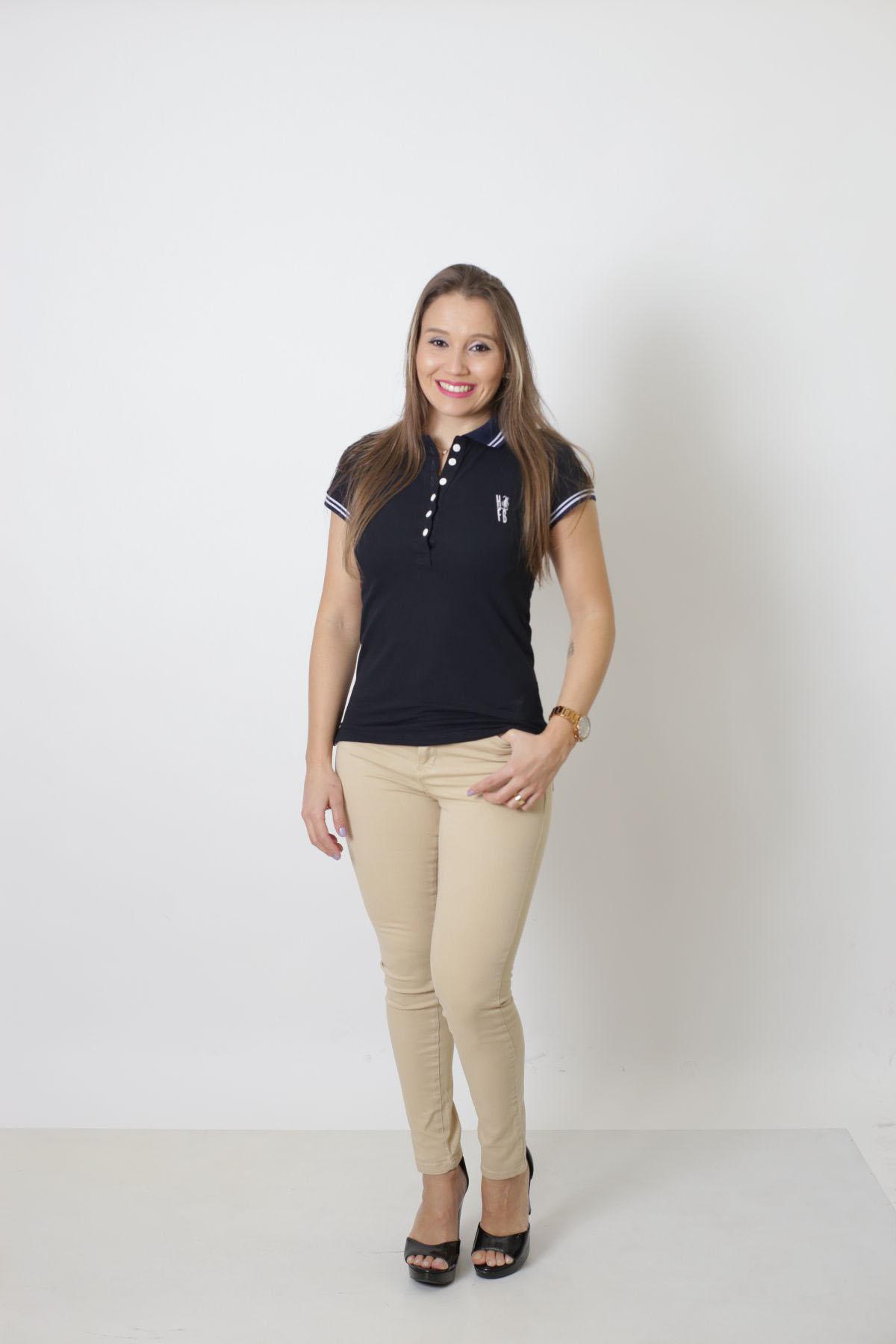 Camisa Polo Feminina Azul Marinho Céu  - Heitor Fashion Brazil