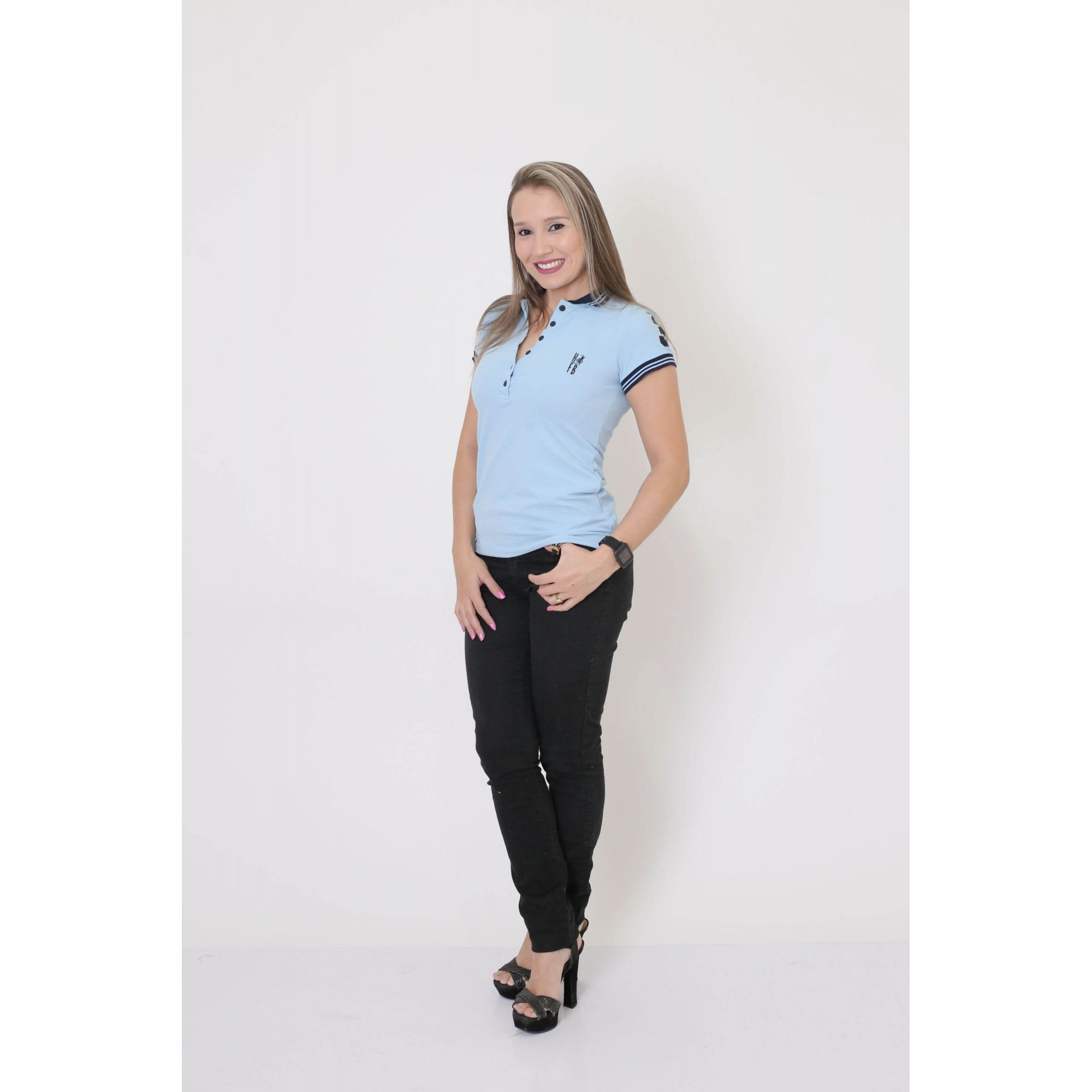 Camisa Polo Feminina Azul Nobreza