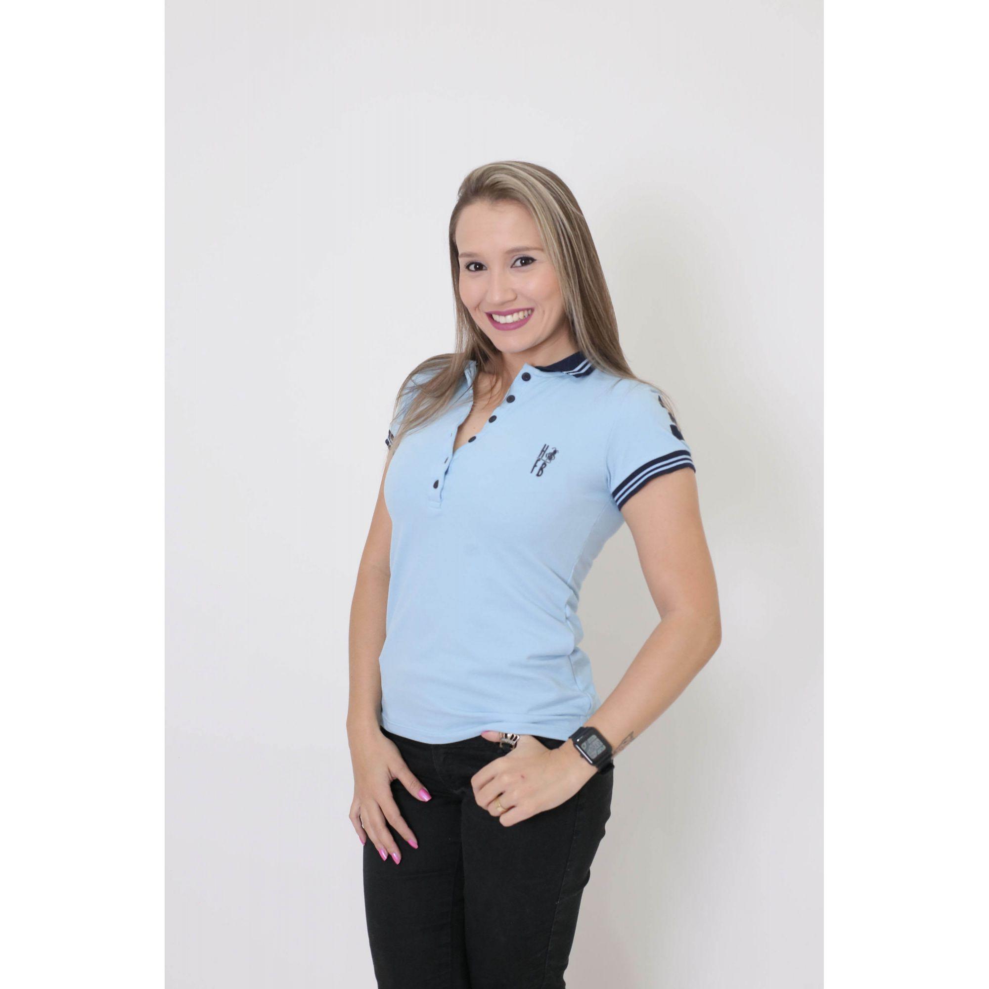 Camisa Polo Feminina Azul Nobreza  - Heitor Fashion Brazil