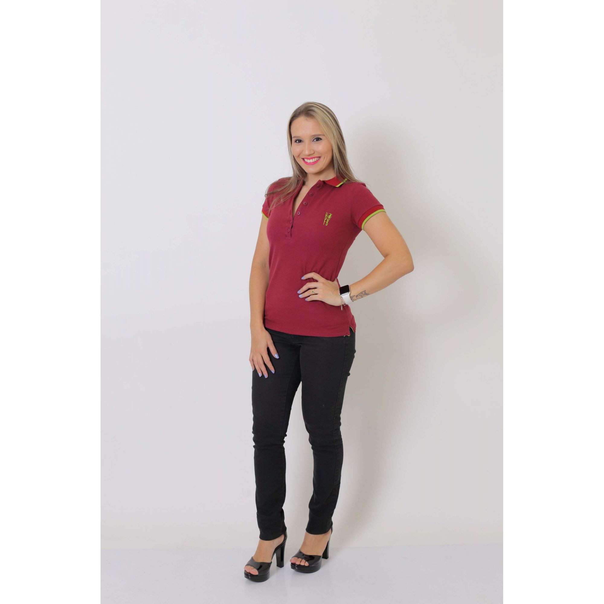 Camisa Polo Feminina Bordo