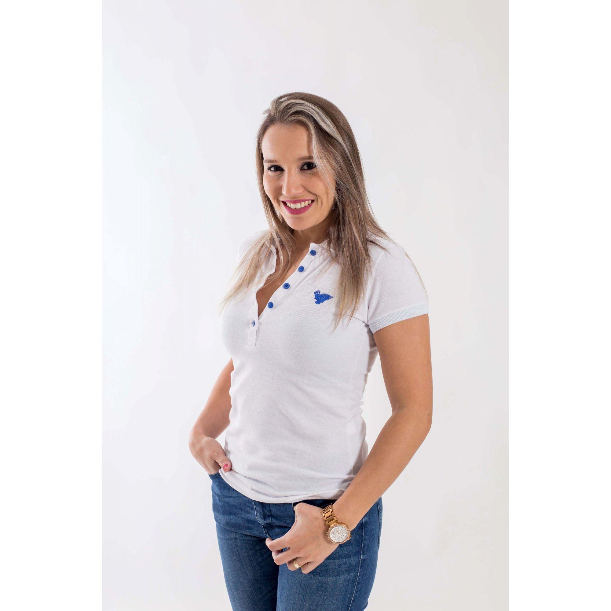 Camisa Polo Feminina Branca  - Heitor Fashion Brazil