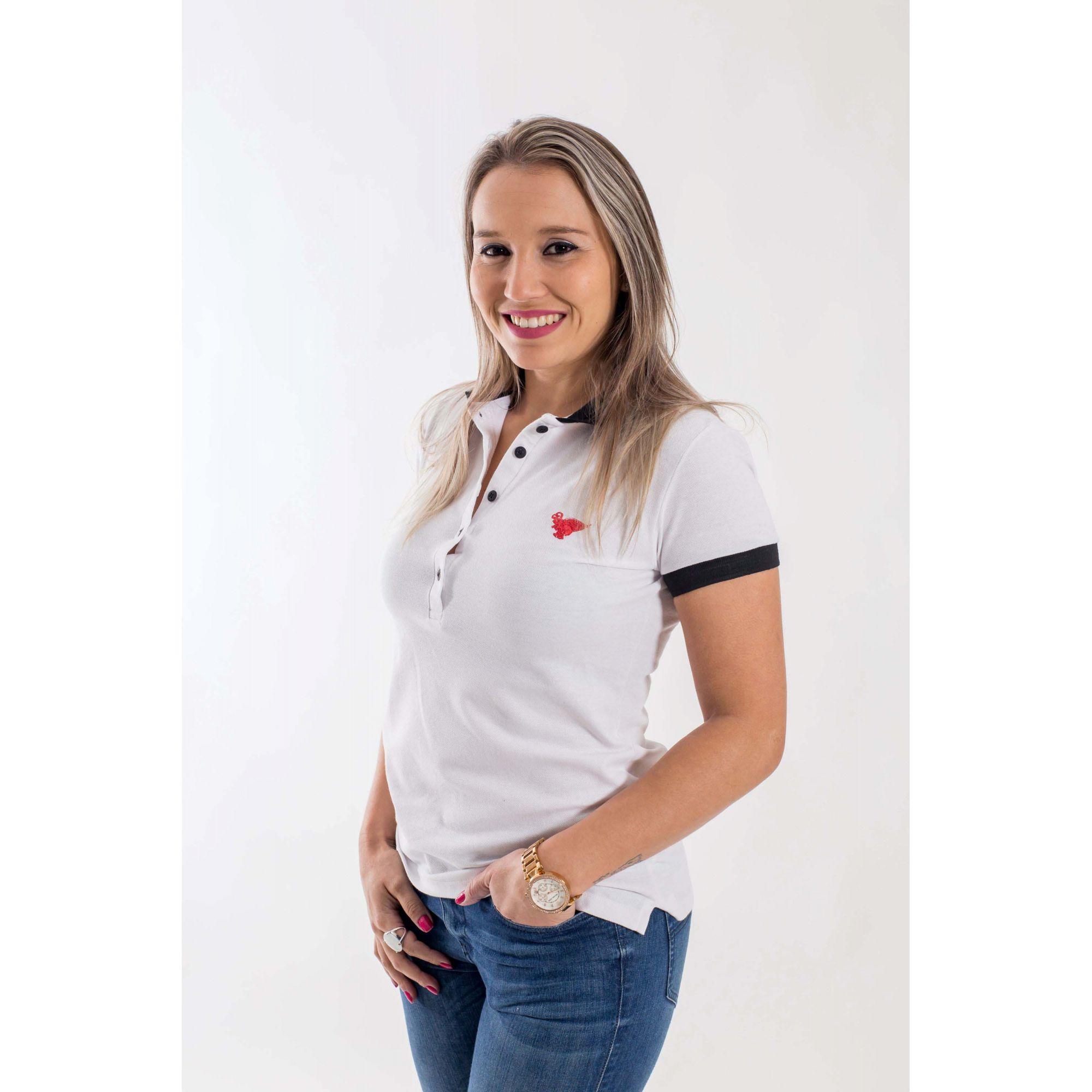 Camisa Polo Feminina Branca com Preto  - Heitor Fashion Brazil