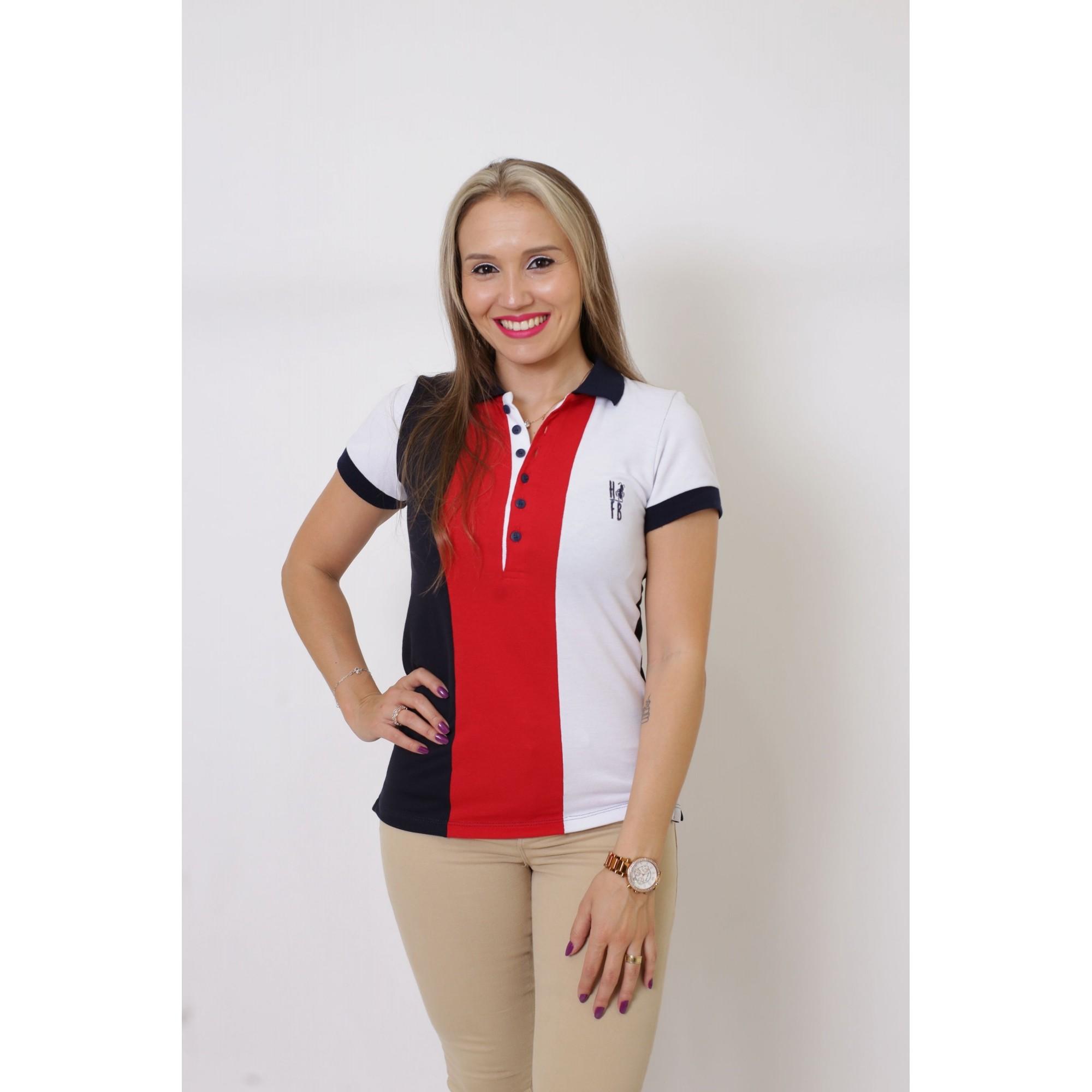 Camisa Polo Feminina Listrada king