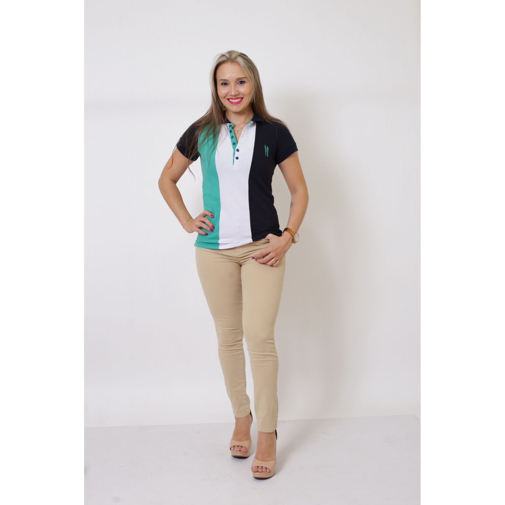 Camisa Polo Feminina Listrada Prince  - Heitor Fashion Brazil