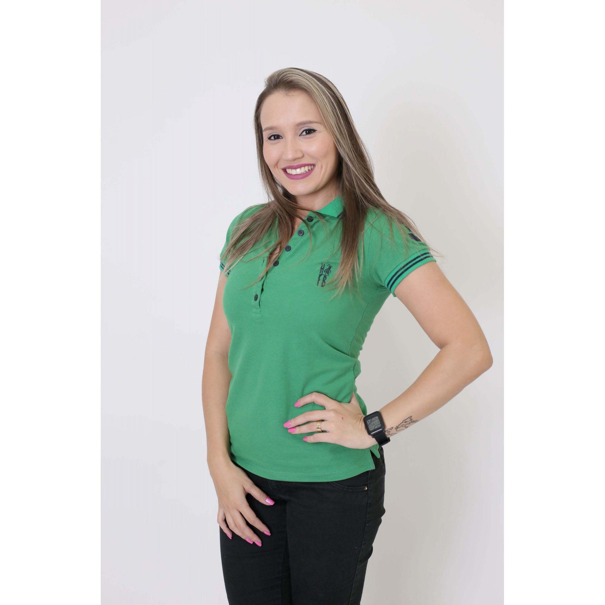 Camisa Polo Feminina Verde Esperança  - Heitor Fashion Brazil