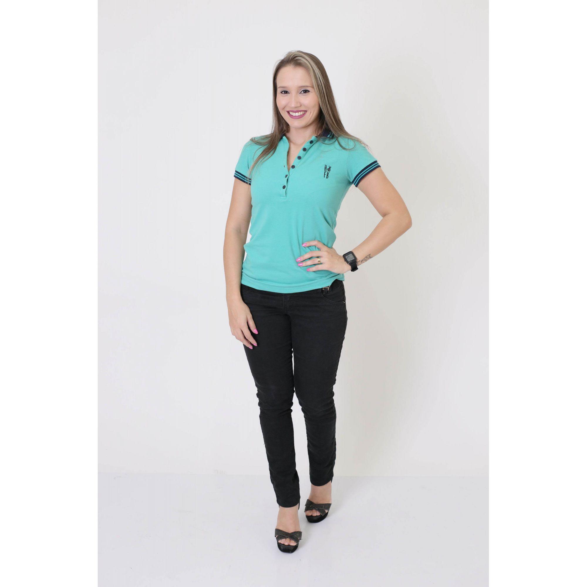 Camisa Polo Feminina Verde Jade  - Heitor Fashion Brazil
