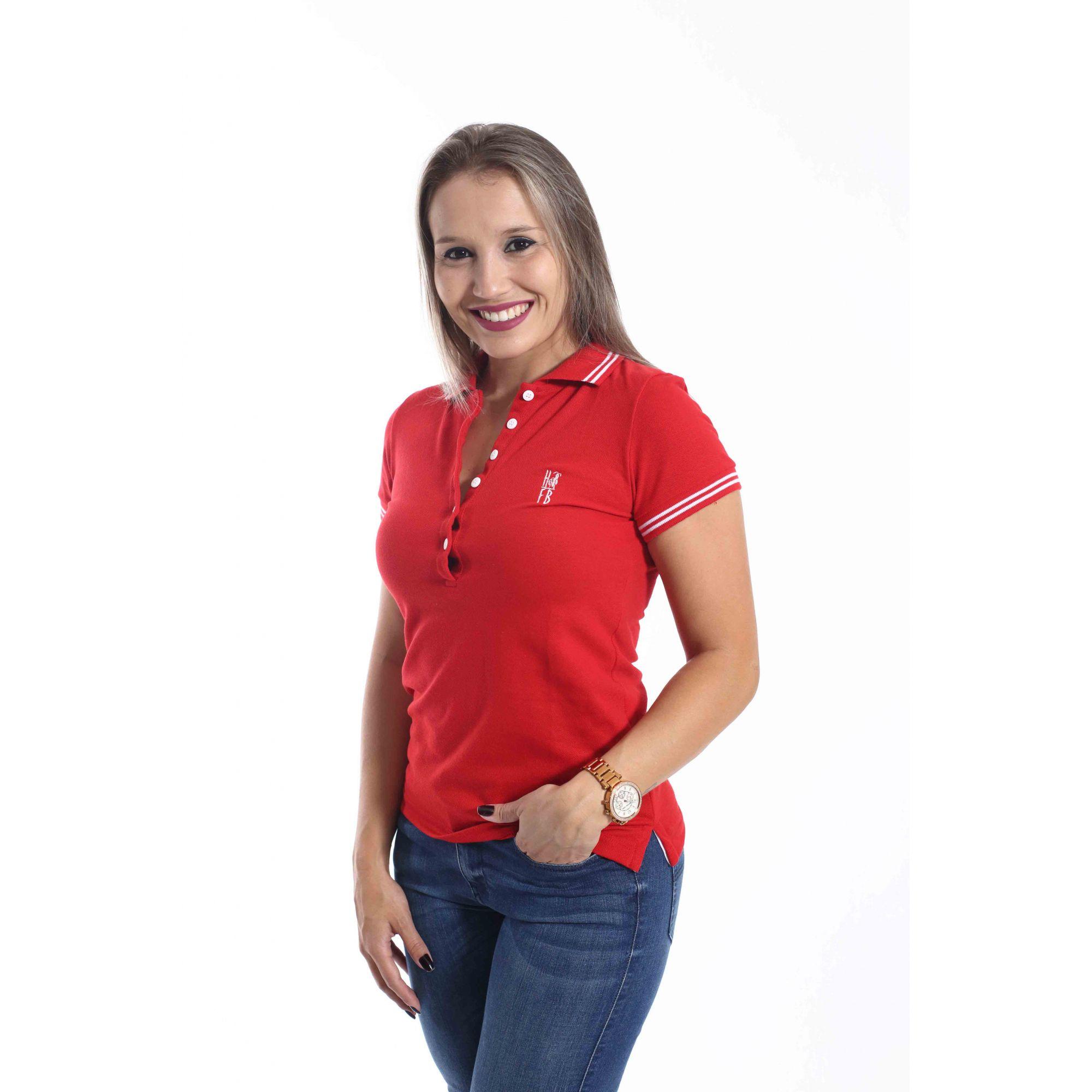 Camisa Polo Feminina Vermelho Paixão  - Heitor Fashion Brazil