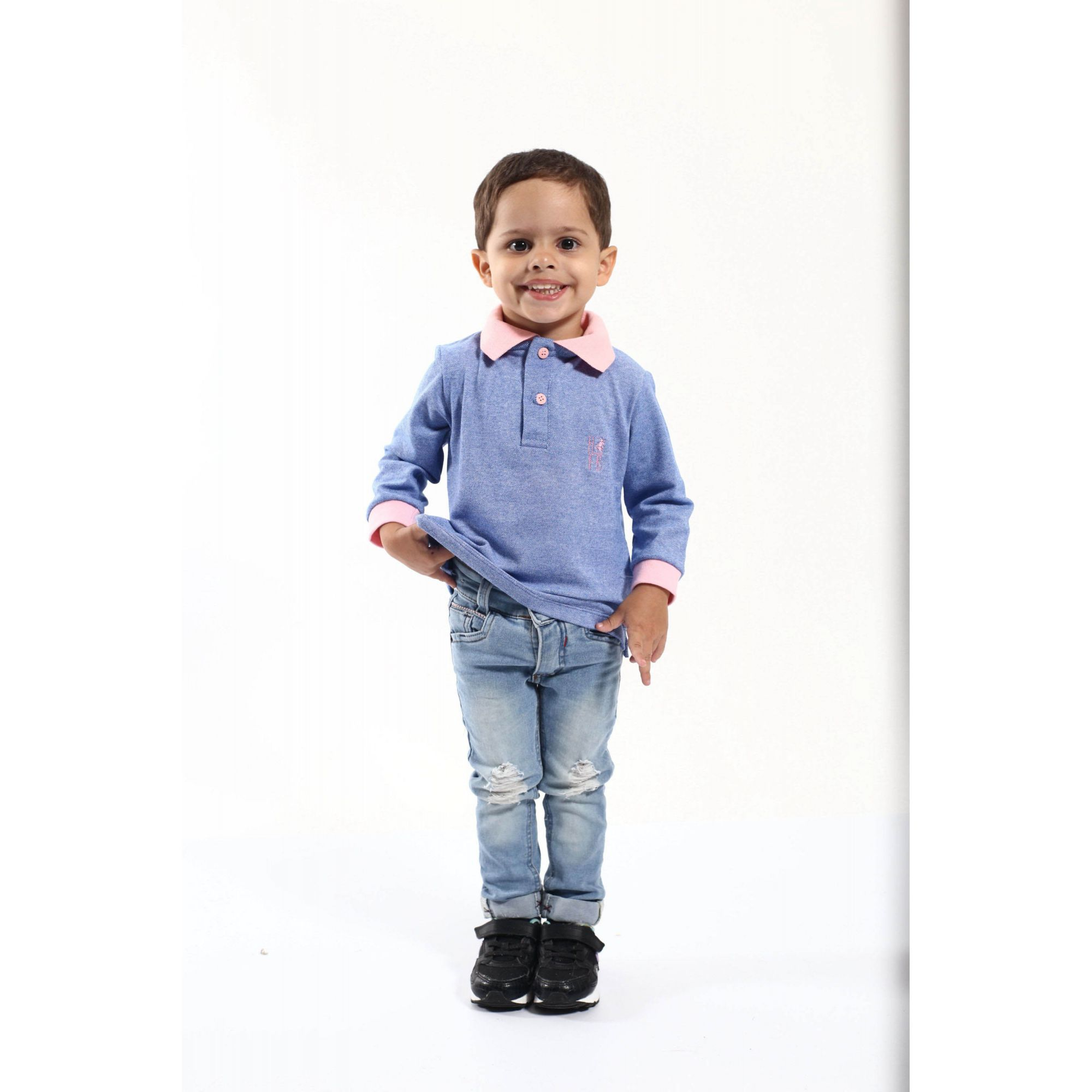 Camisa Polo Infantil Azul Manga Longa  - Heitor Fashion Brazil
