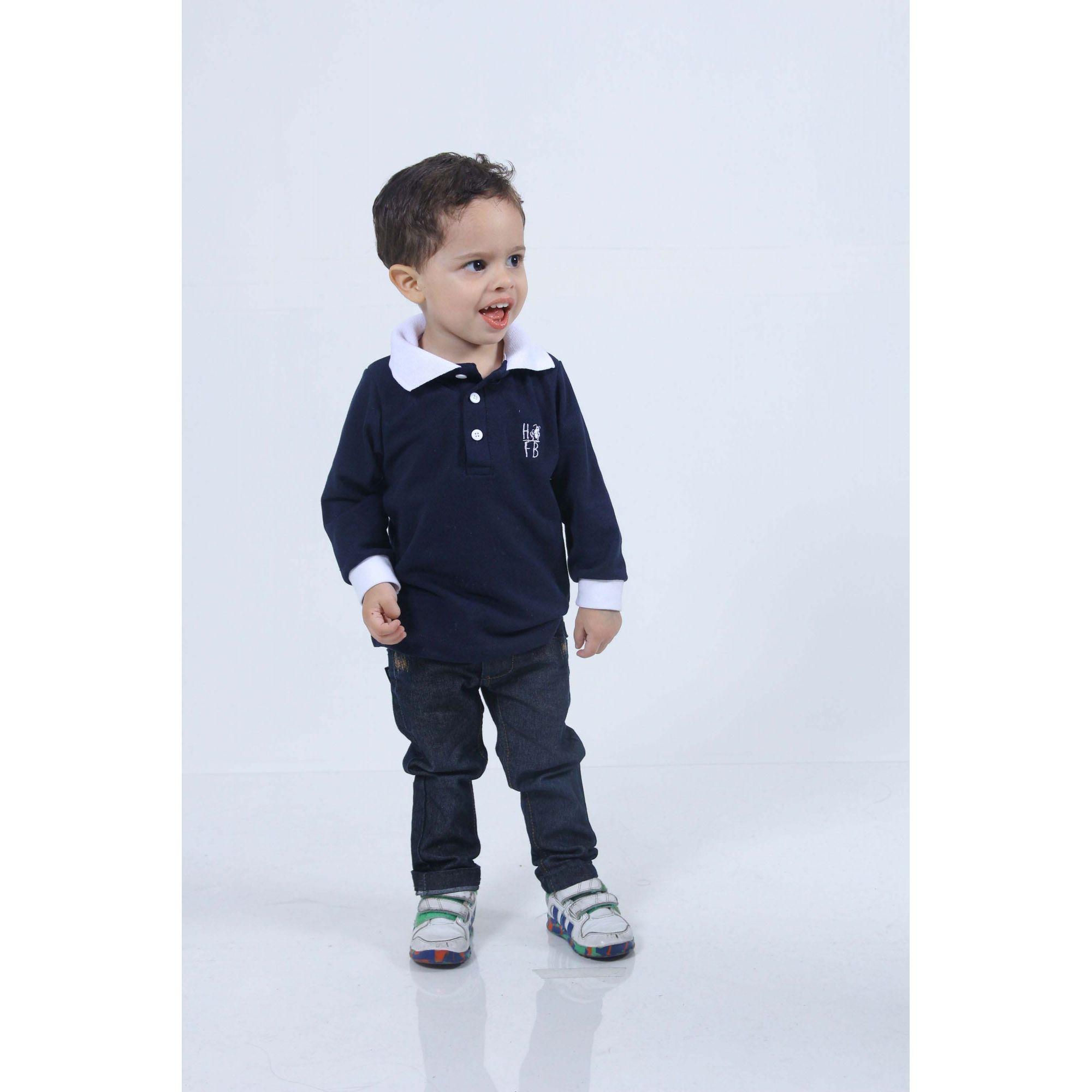 Camisa Polo Infantil Azul marinho Manga Longa