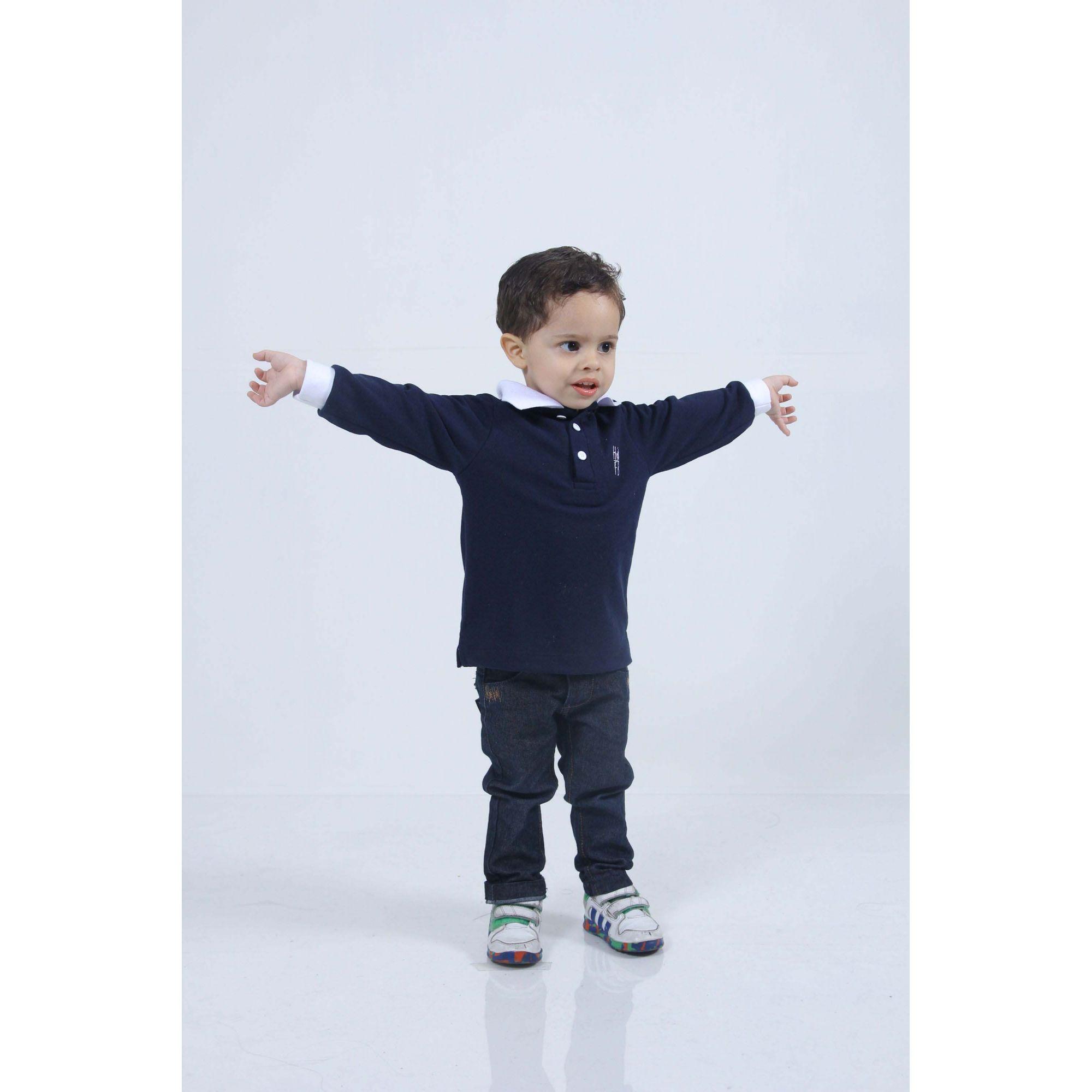 Camisa Polo Infantil Azul marinho Manga Longa  - Heitor Fashion Brazil