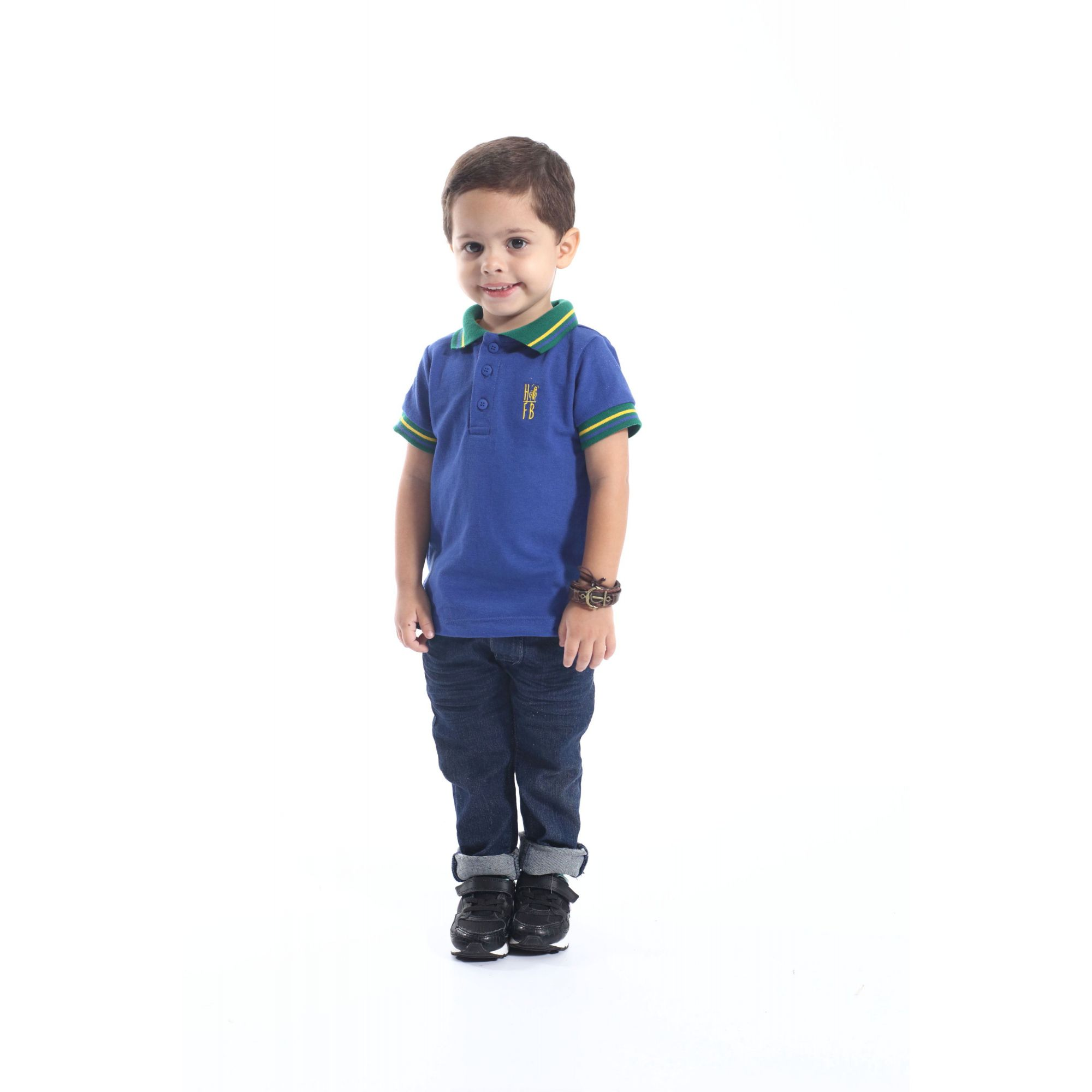 Camisa Polo Infantil Azul Royal  - Heitor Fashion Brazil