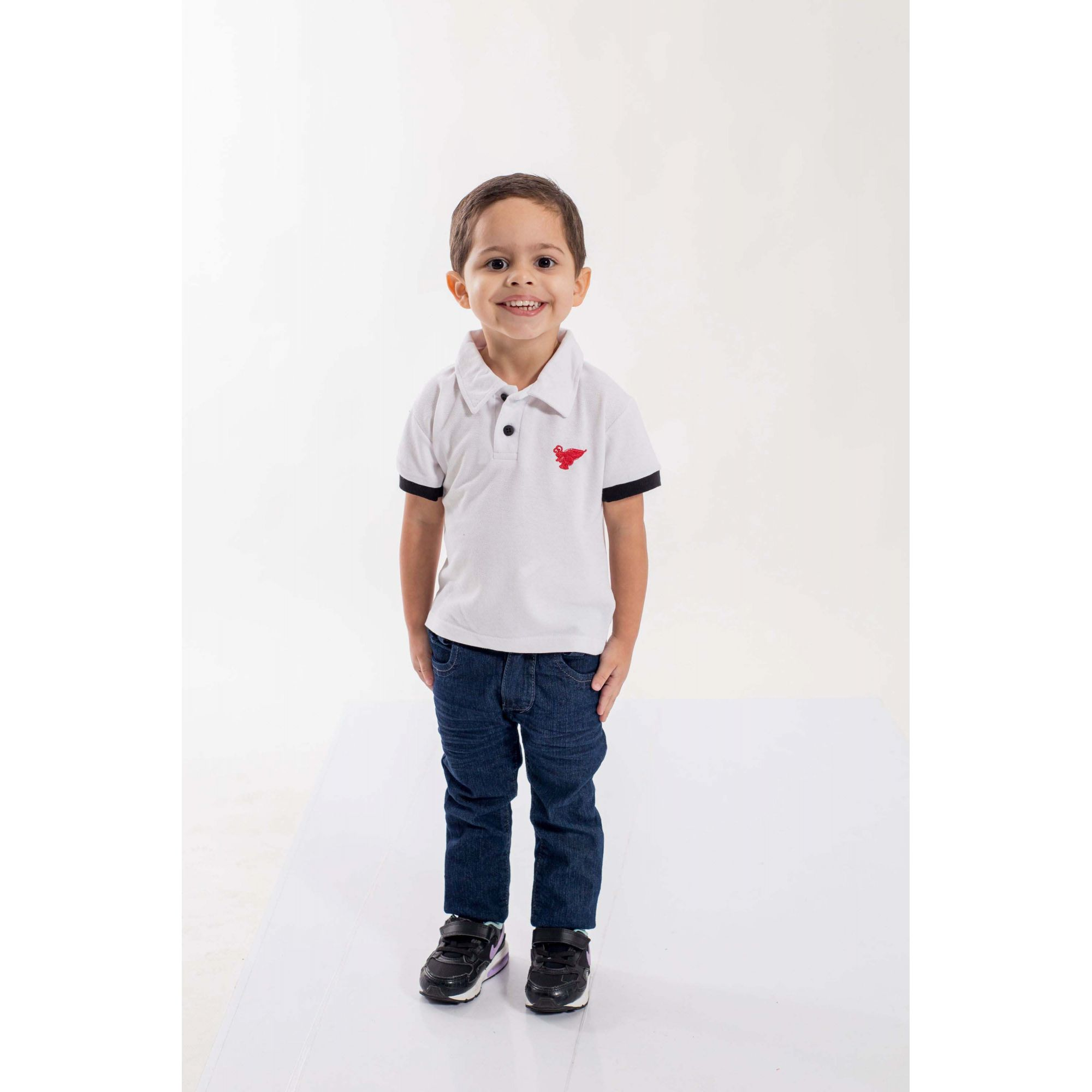 Camisa Polo Infantil Branco com Preto