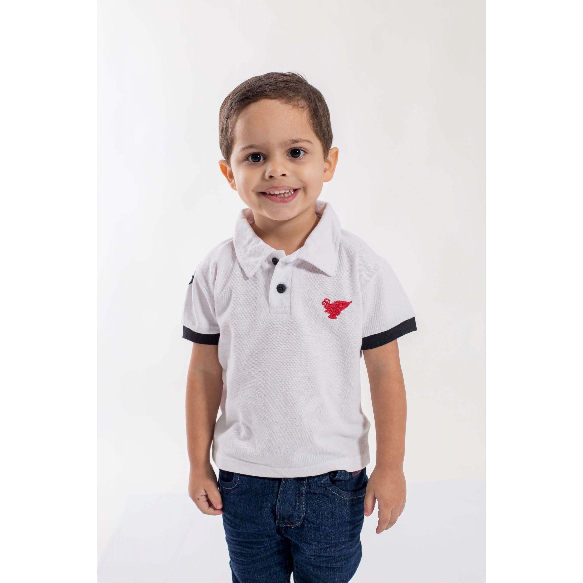 Camisa Polo Infantil Branco com Preto  - Heitor Fashion Brazil