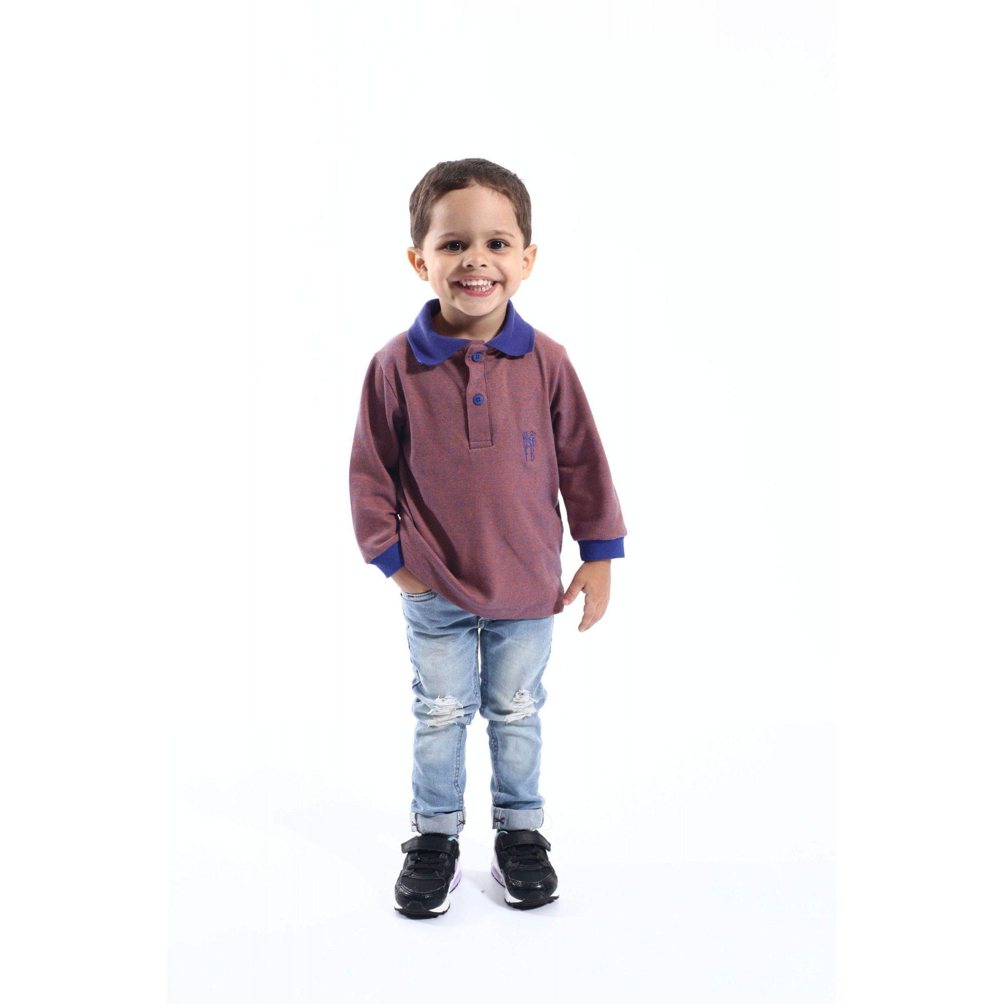Camisa Polo Infantil Laranja Manga Longa