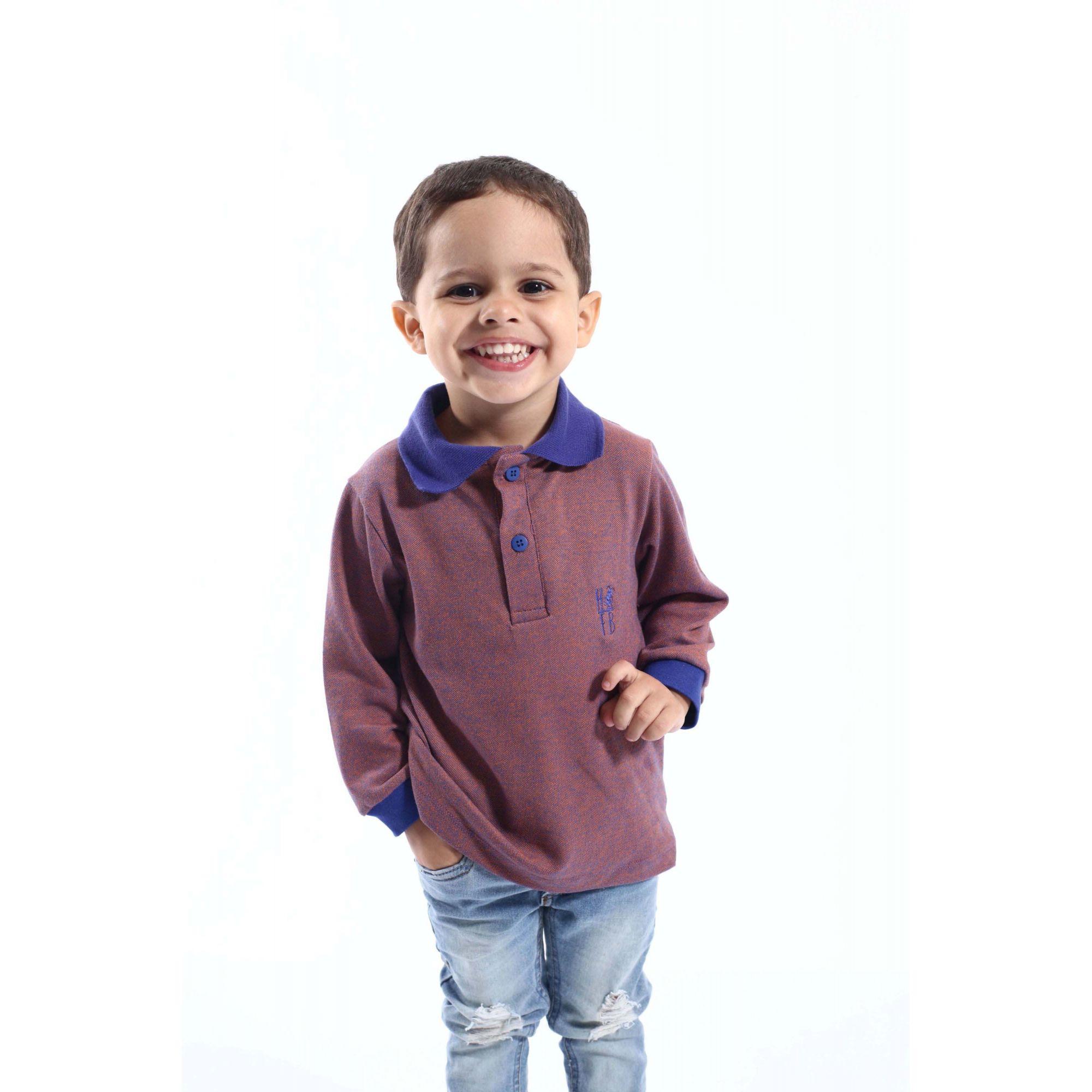 Camisa Polo Infantil Laranja Manga Longa  - Heitor Fashion Brazil