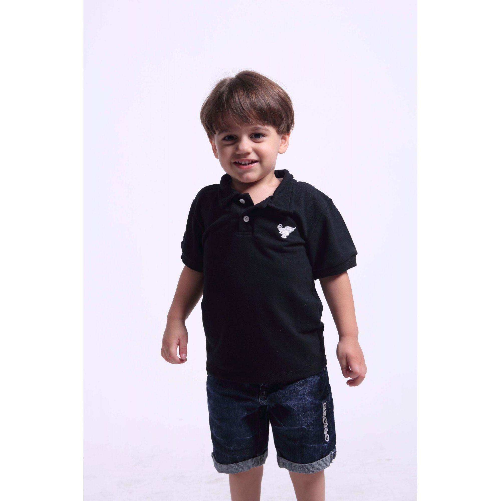 Camisa Polo Infantil Preta