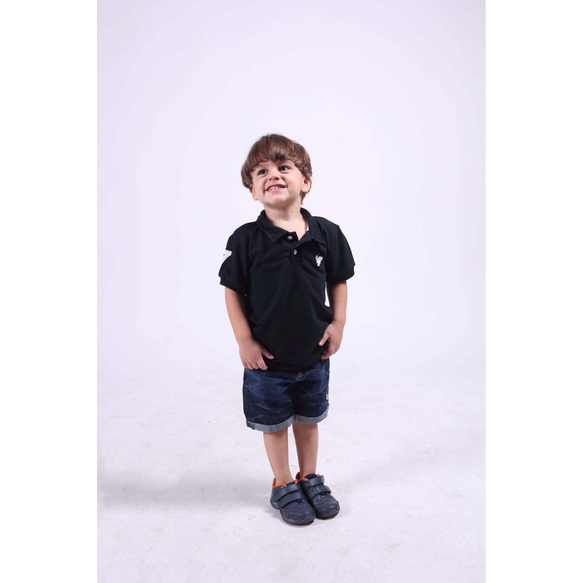 Camisa Polo Infantil Preta  - Heitor Fashion Brazil