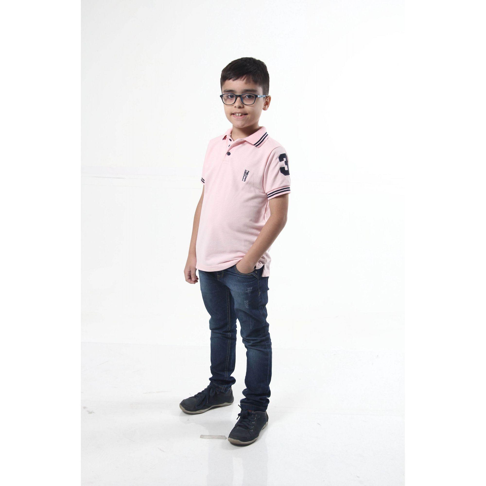 Camisa Polo ou Body Polo Infantil Rosa Amor  - Heitor Fashion Brazil
