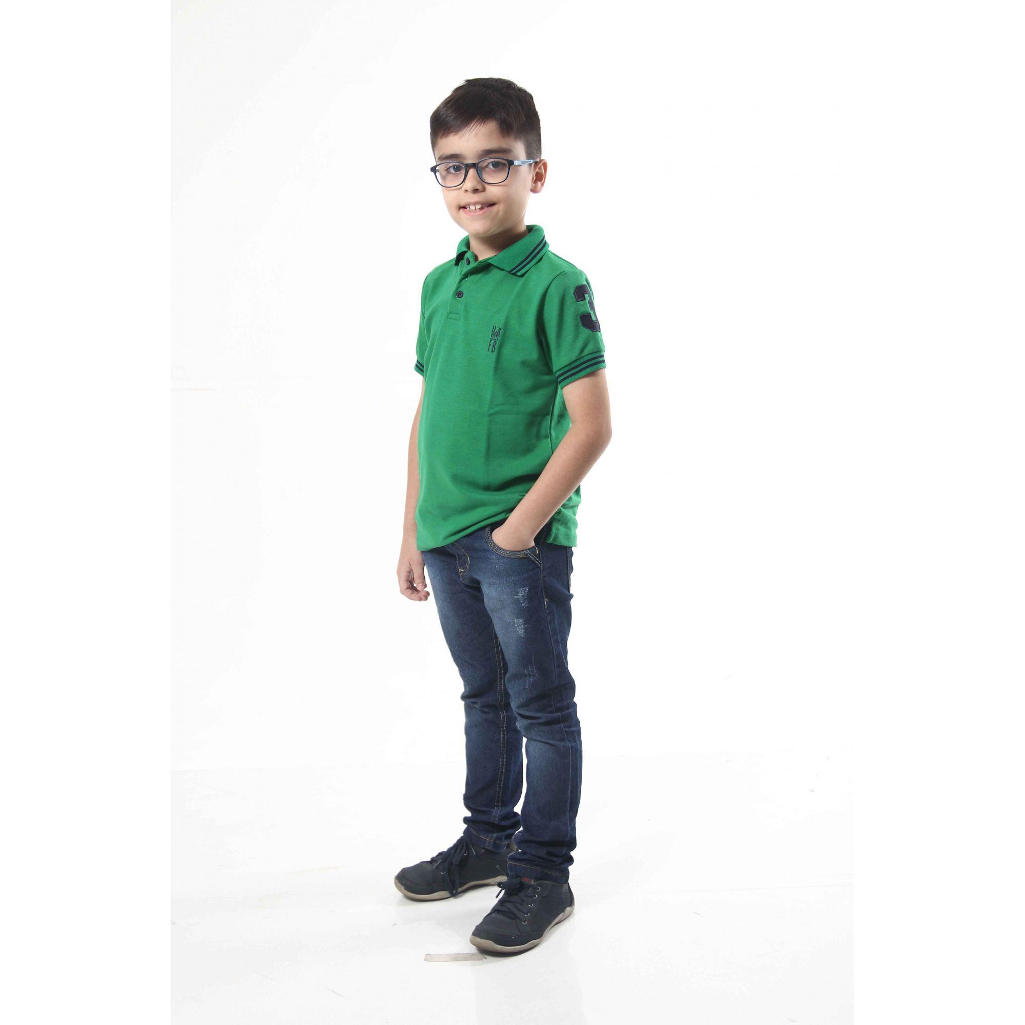 Camisa ou Body Polo Infantil Verde Esperança