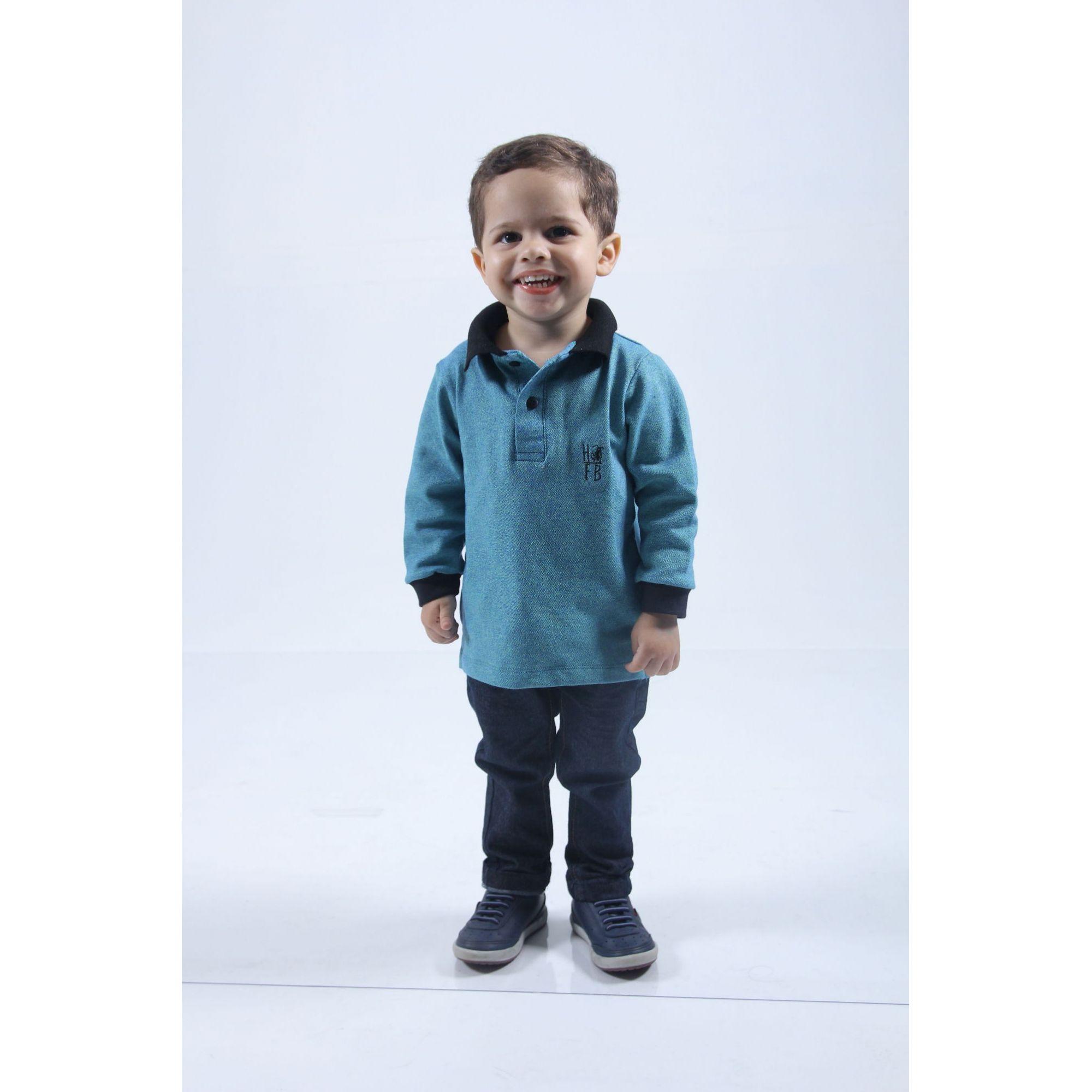Camisa Polo Infantil Verde Manga Longa  - Heitor Fashion Brazil