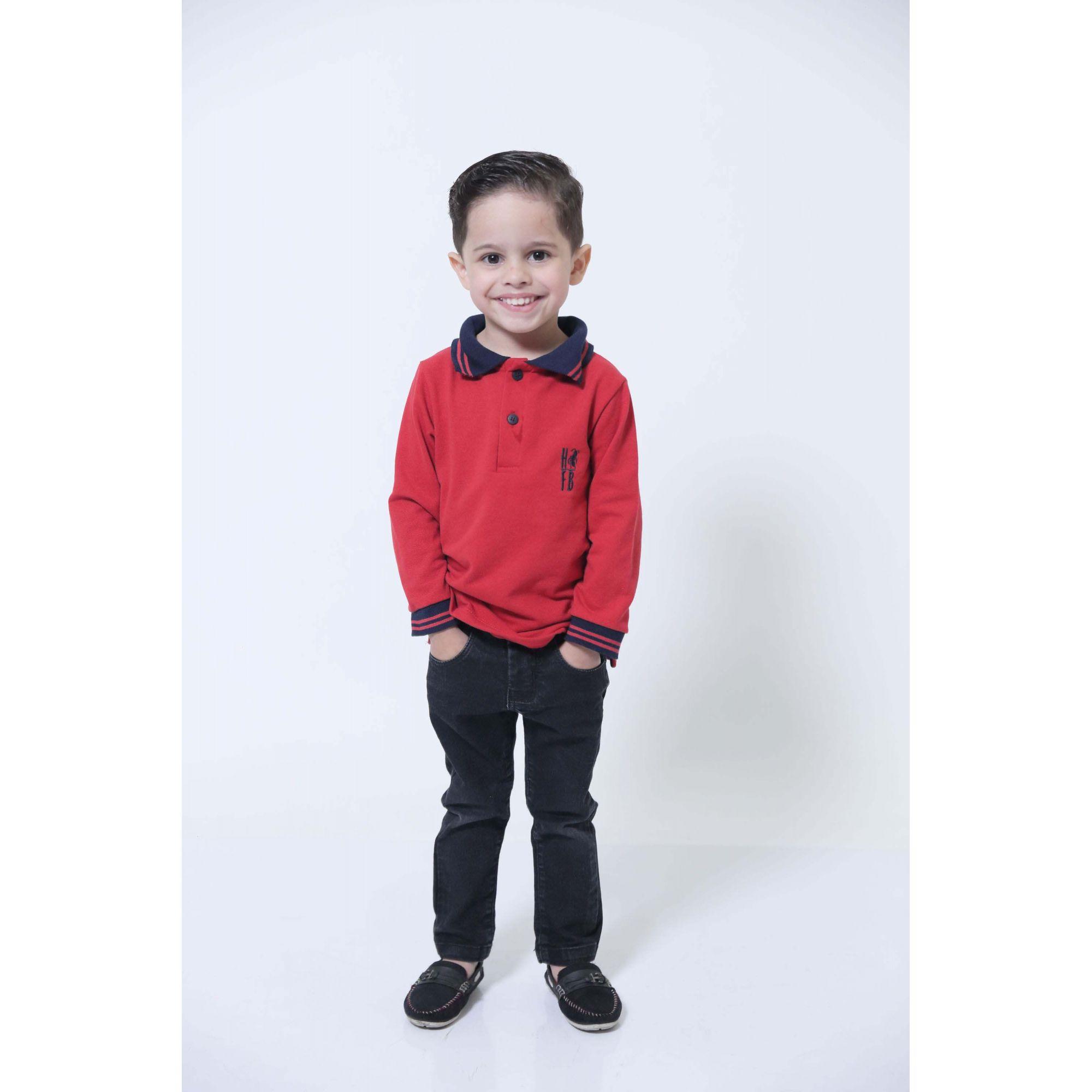 Camisa Polo ou Body Infantil Vermelho Manga Longa  - Heitor Fashion Brazil