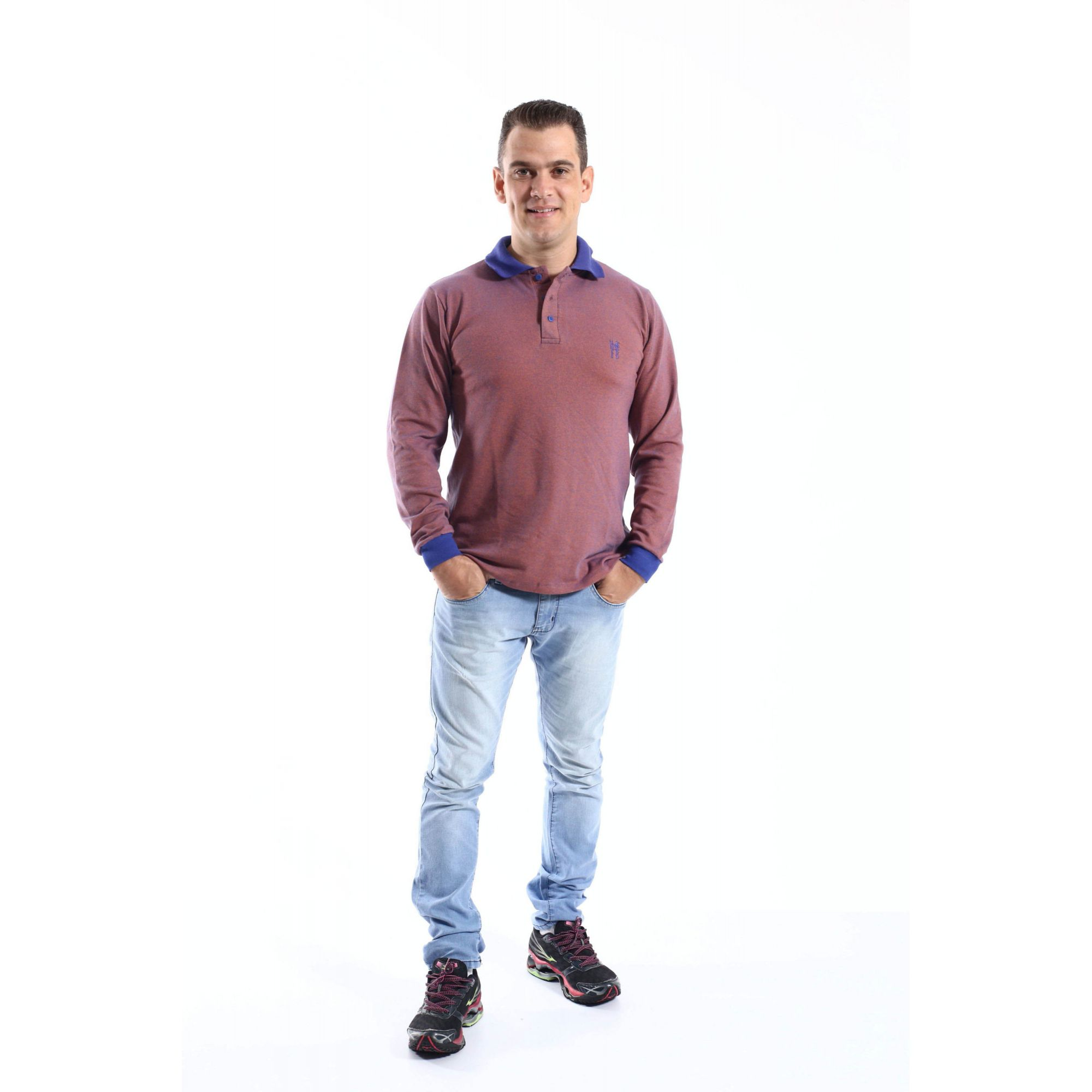Camisa Polo Laranja Manga Longa  - Heitor Fashion Brazil