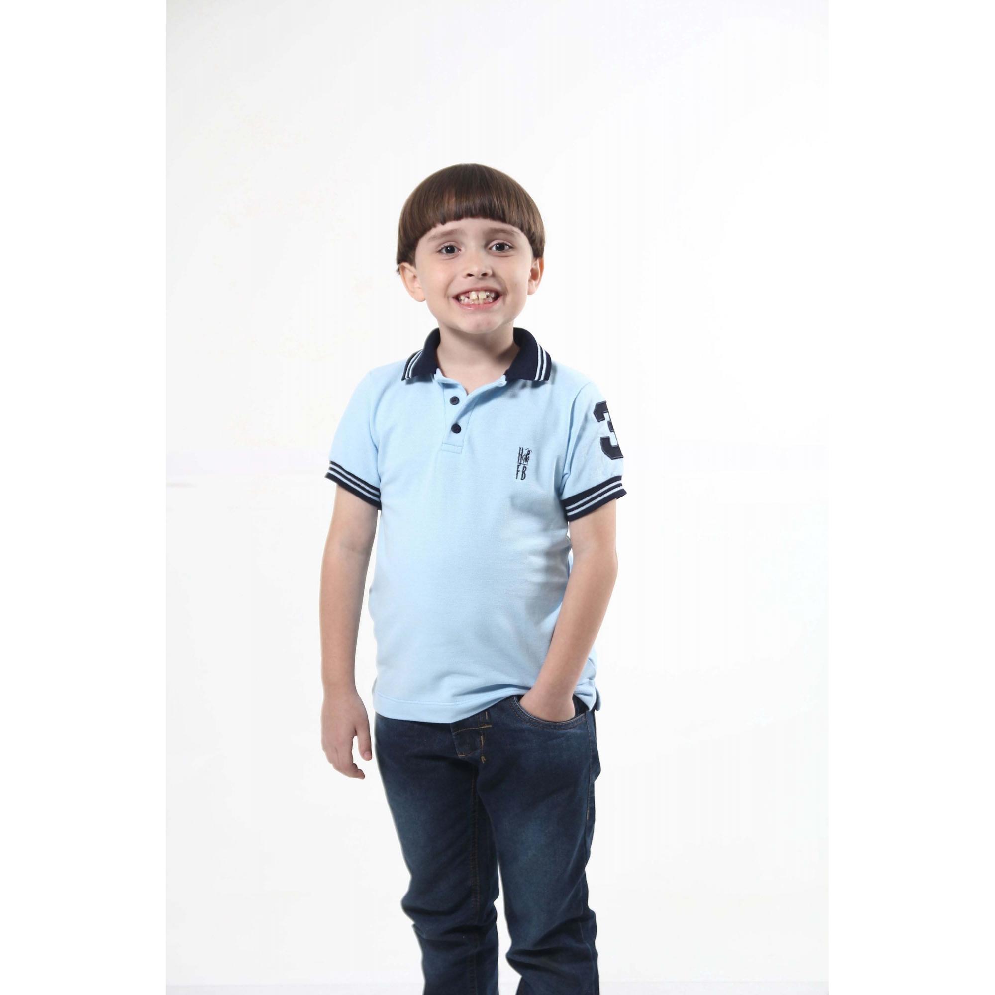 Camisa Polo ou Body Infantil Azul Claro