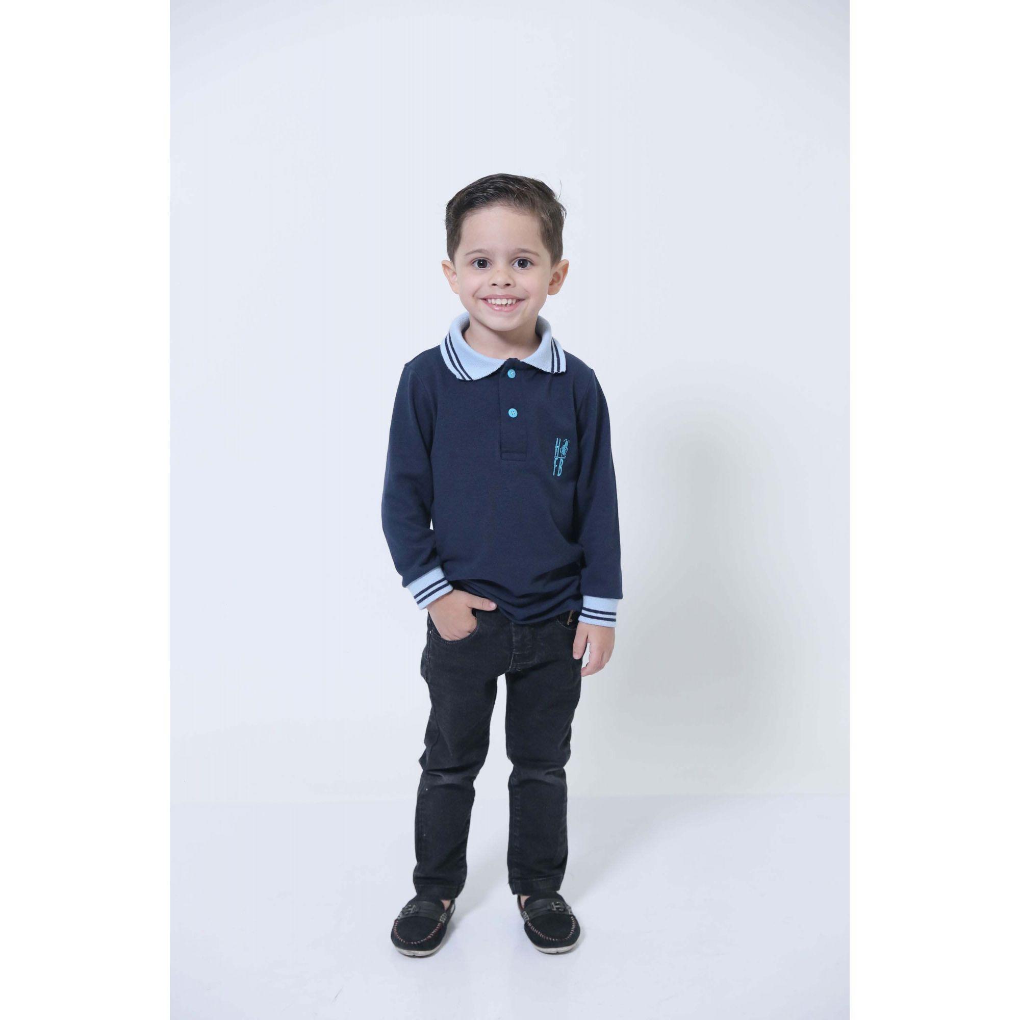 Camisa Polo ou Body Infantil Azul Manga Longa