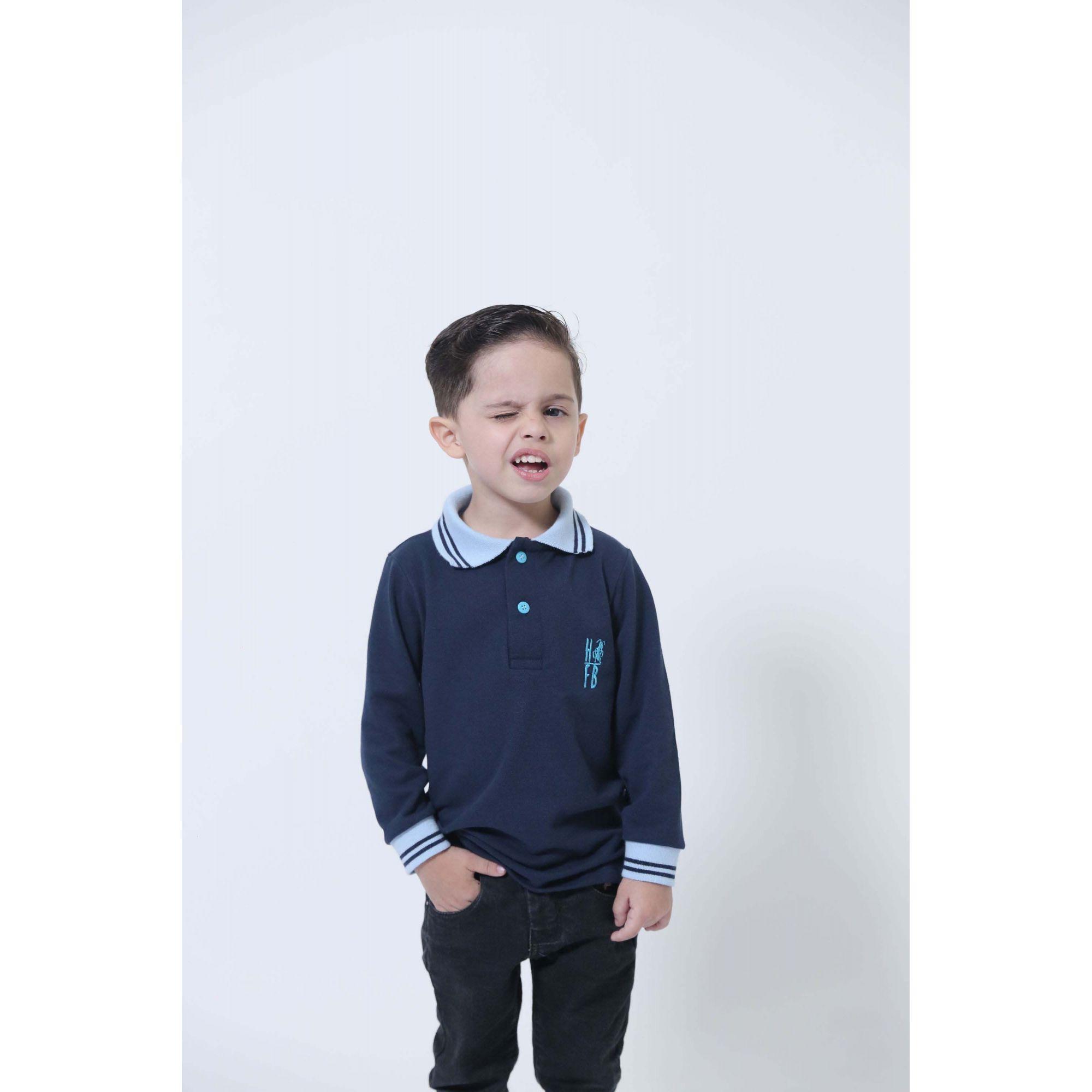 Camisa Polo ou Body Infantil Azul Manga Longa  - Heitor Fashion Brazil