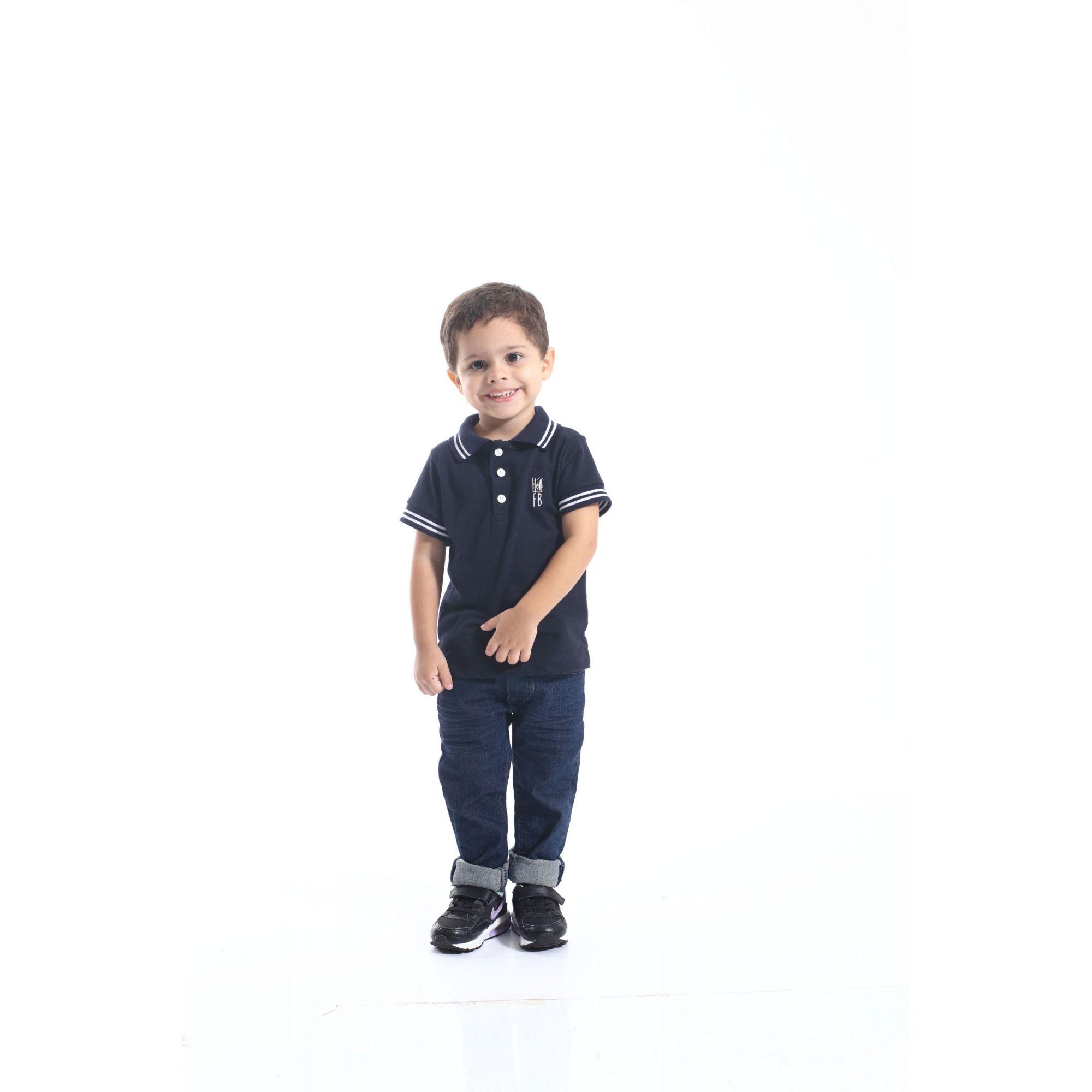 Camisa Polo ou Body Infantil Azul Marinho Céu