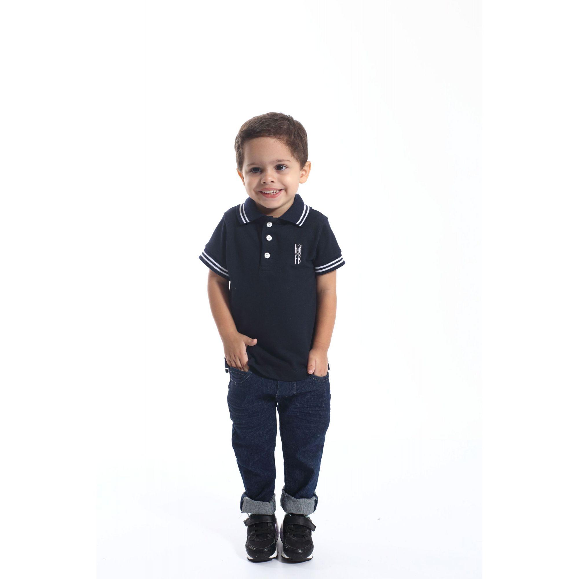 Camisa Polo ou Body Infantil Azul Marinho Céu  - Heitor Fashion Brazil