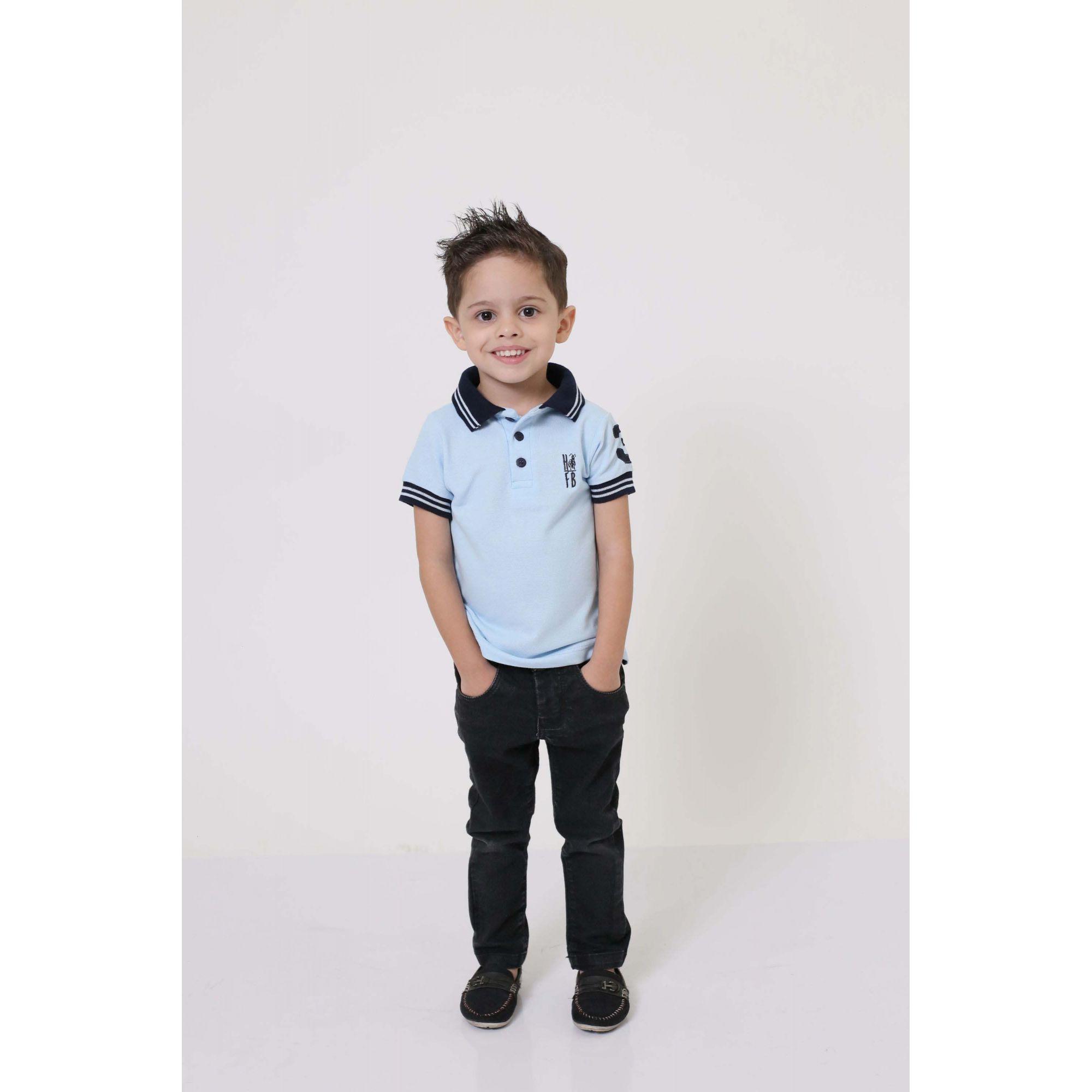 Camisa Polo ou Body Infantil Azul Nobreza