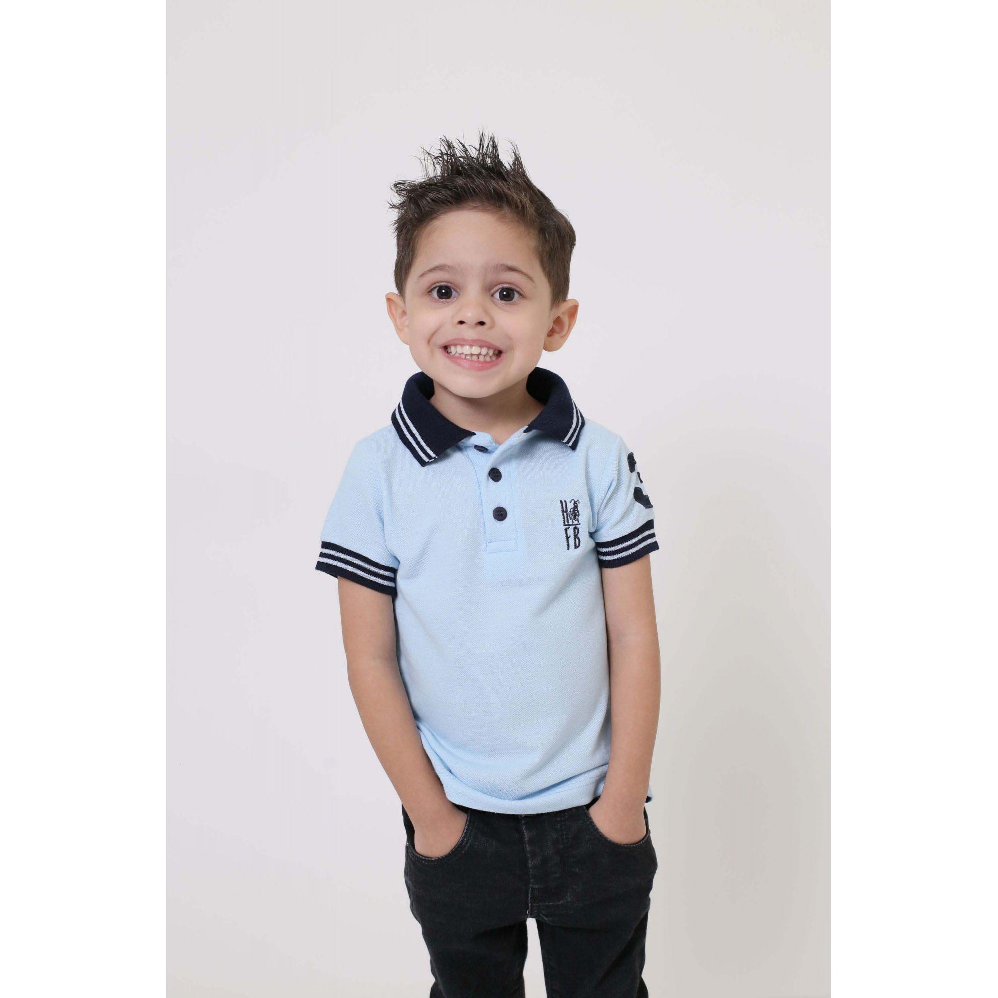 Camisa Polo ou Body Infantil Azul Nobreza  - Heitor Fashion Brazil