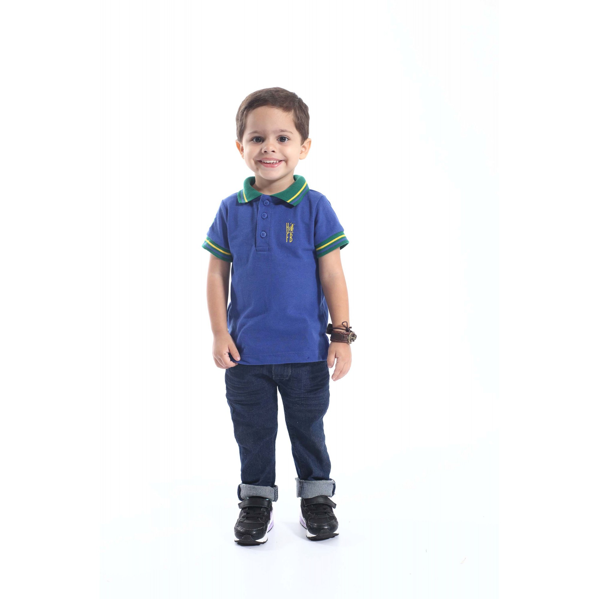 Camisa Polo ou Body Infantil Azul Royal
