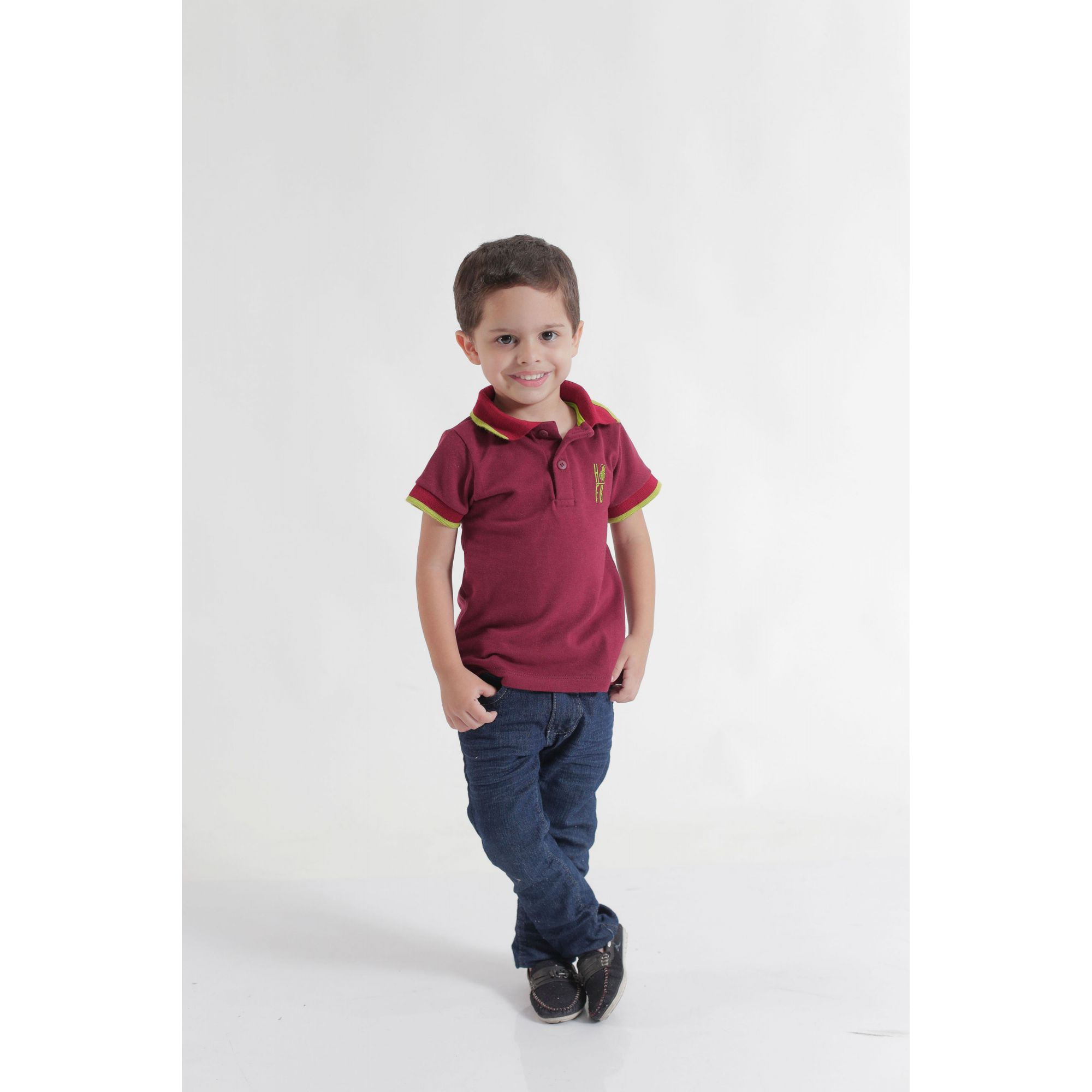 Camisa Polo ou Body Infantil Bordo