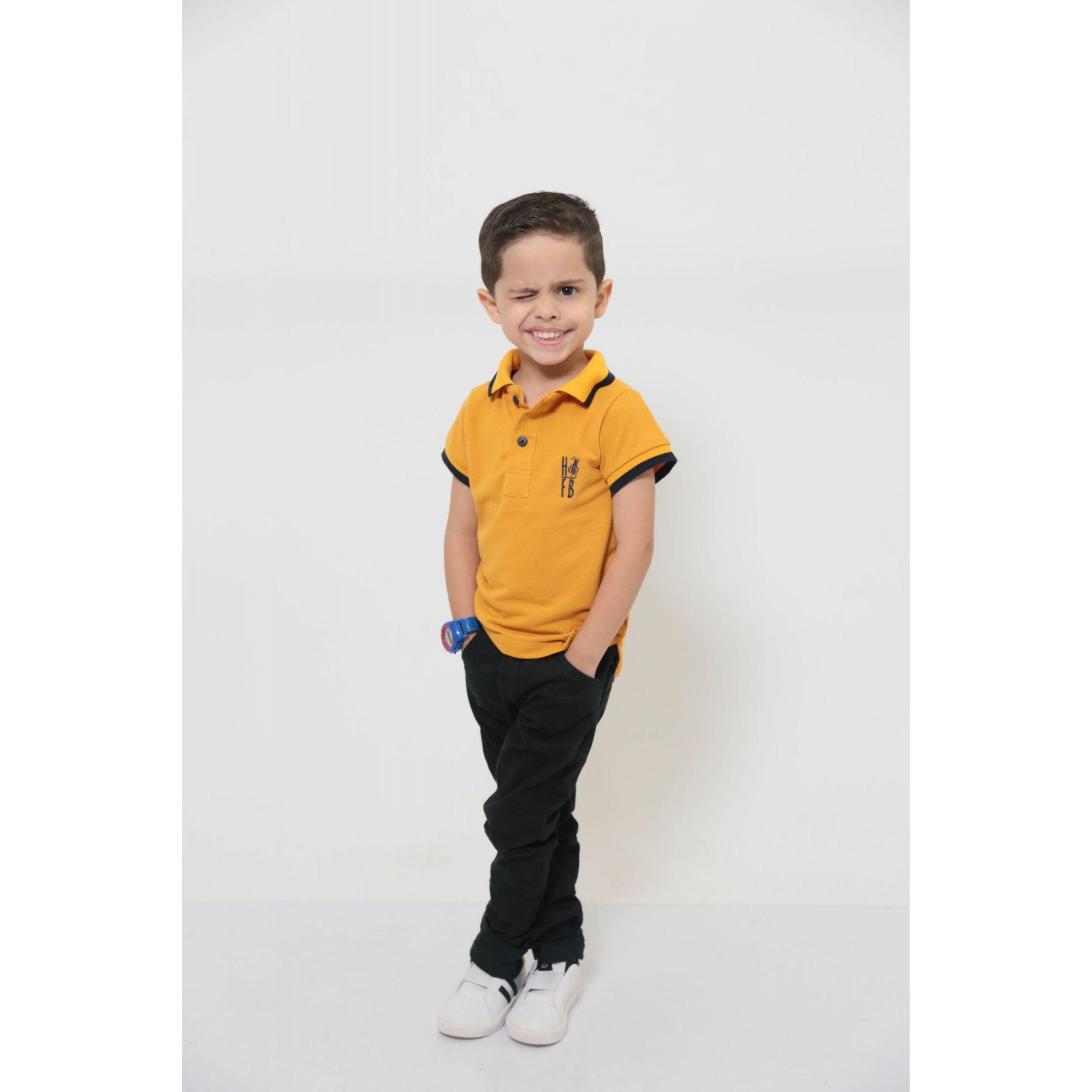 Camisa Polo ou Body Infantil Mostarda