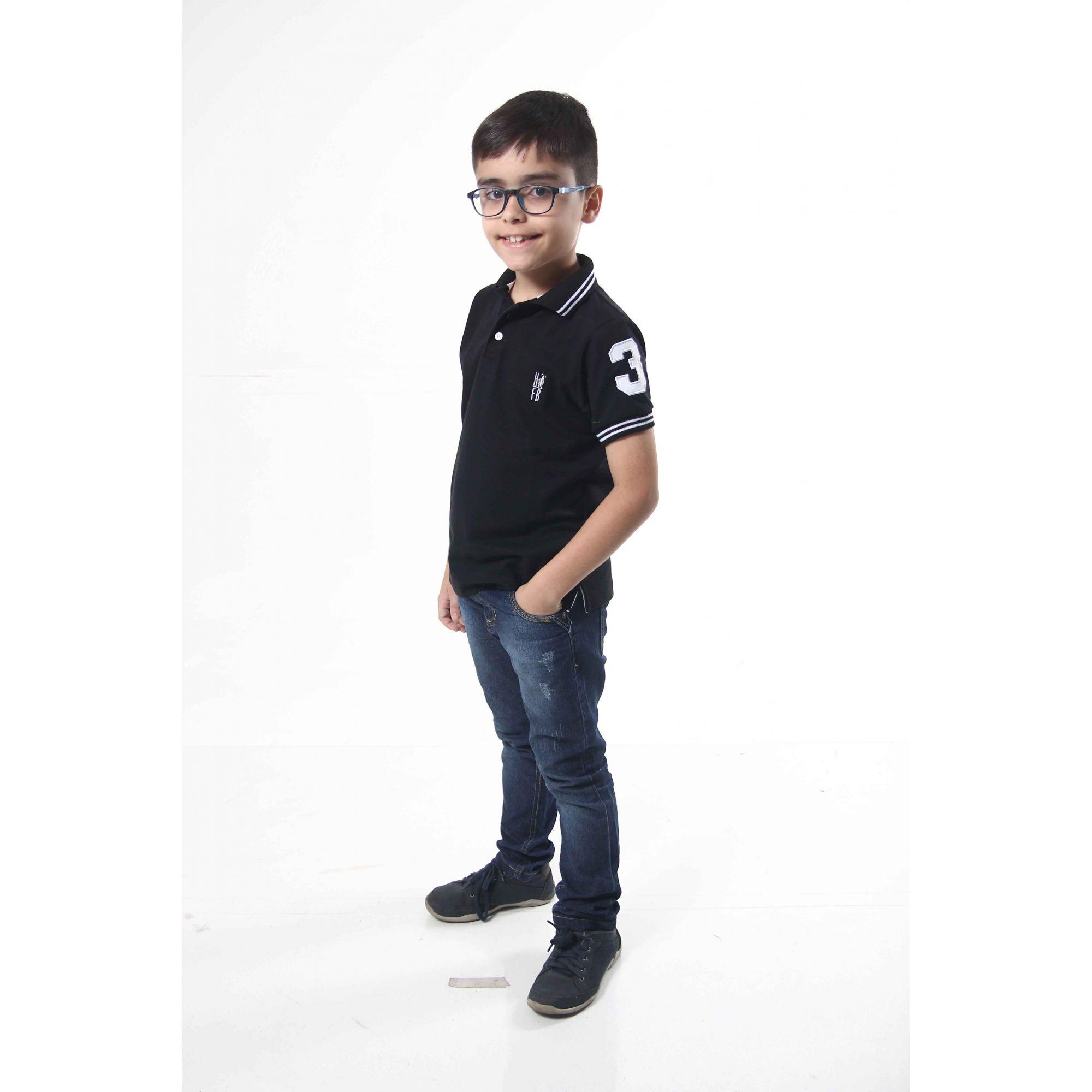 Camisa Polo ou body Infantil Preto Elegância