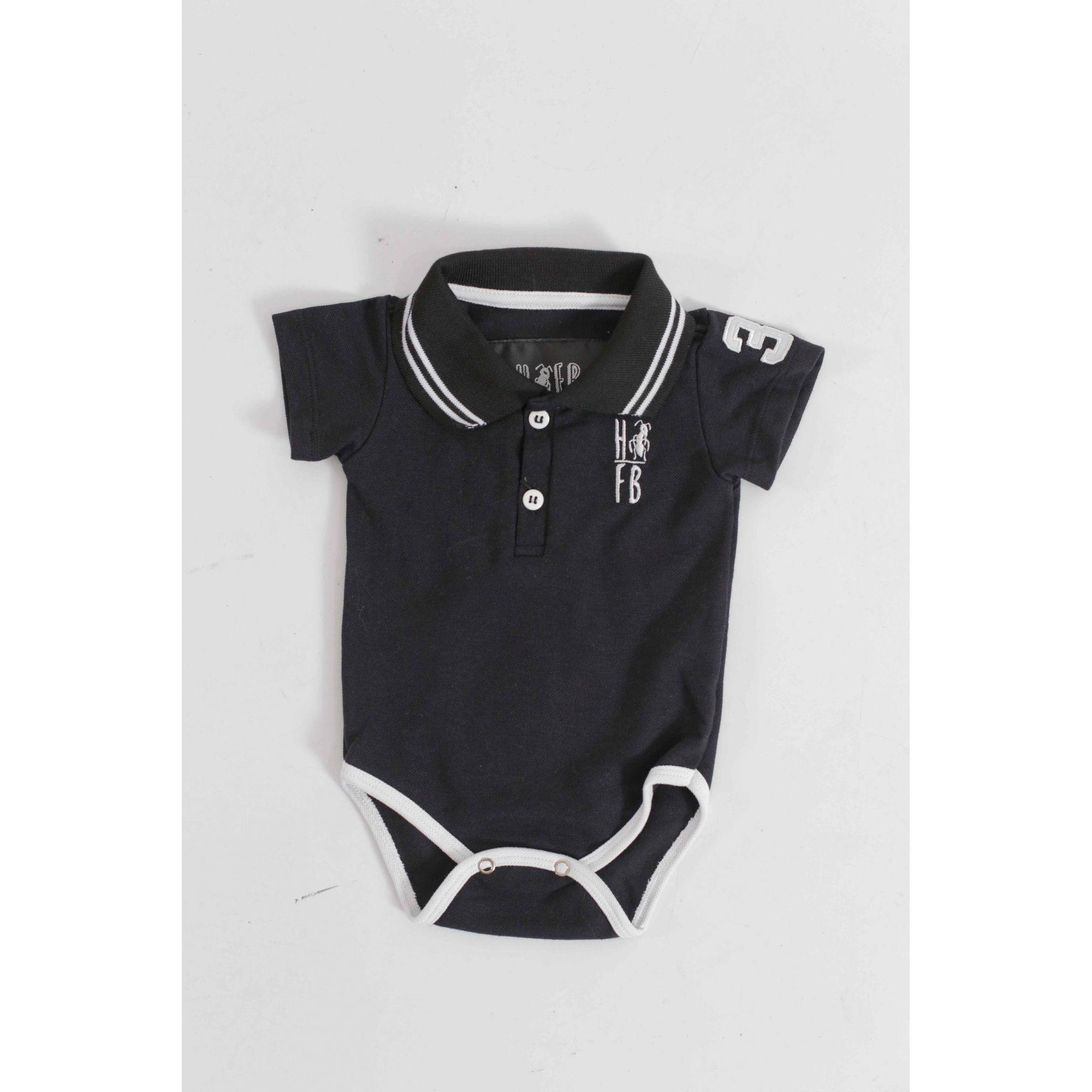 Camisa Polo ou body Infantil Preto Elegância  - Heitor Fashion Brazil