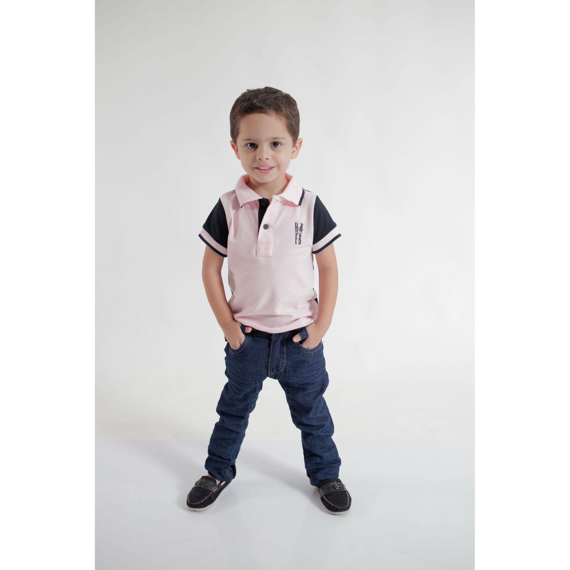 Camisa Polo ou Body Infantil Rosa com Azul Marinho