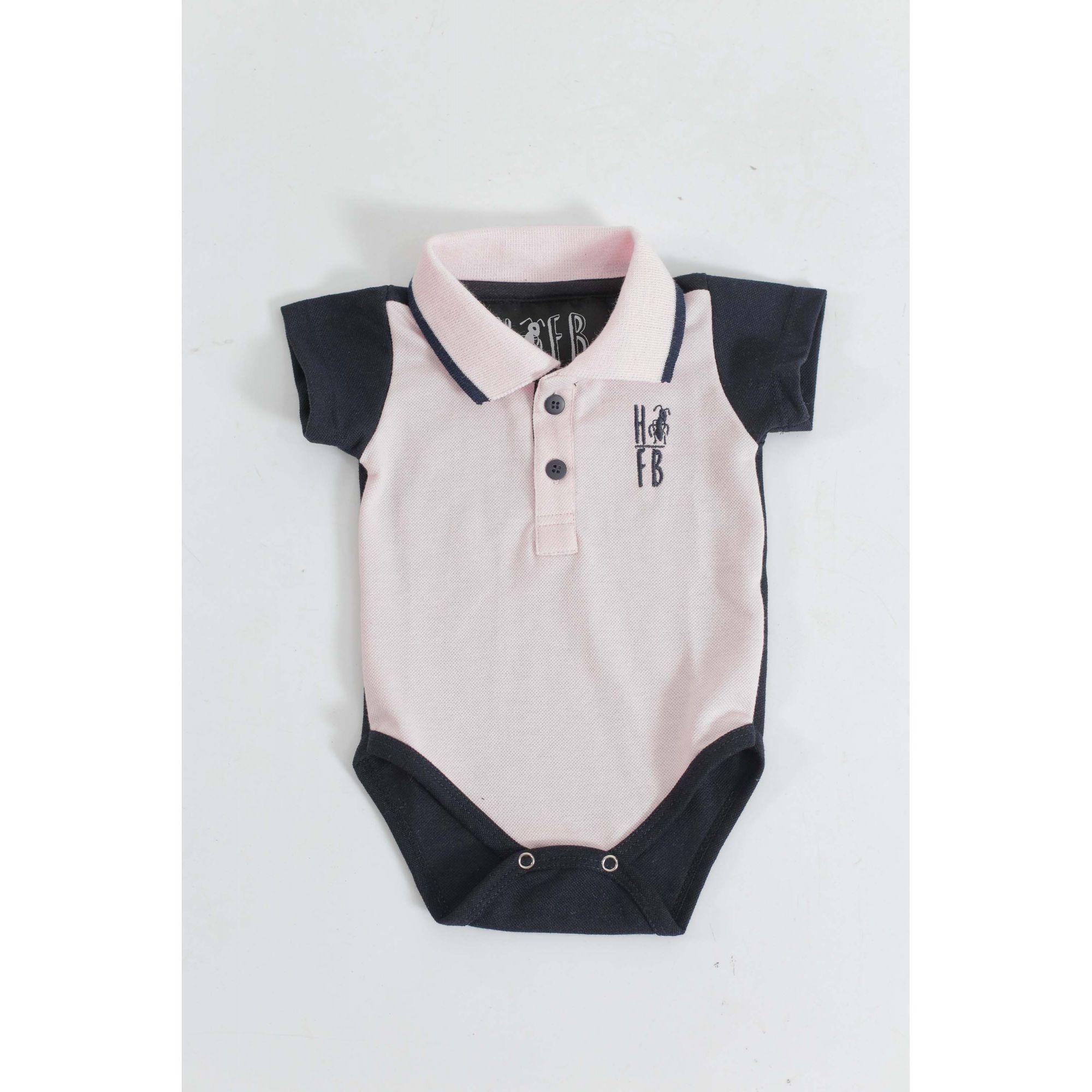 Camisa Polo ou Body Infantil Rosa com Azul Marinho  - Heitor Fashion Brazil